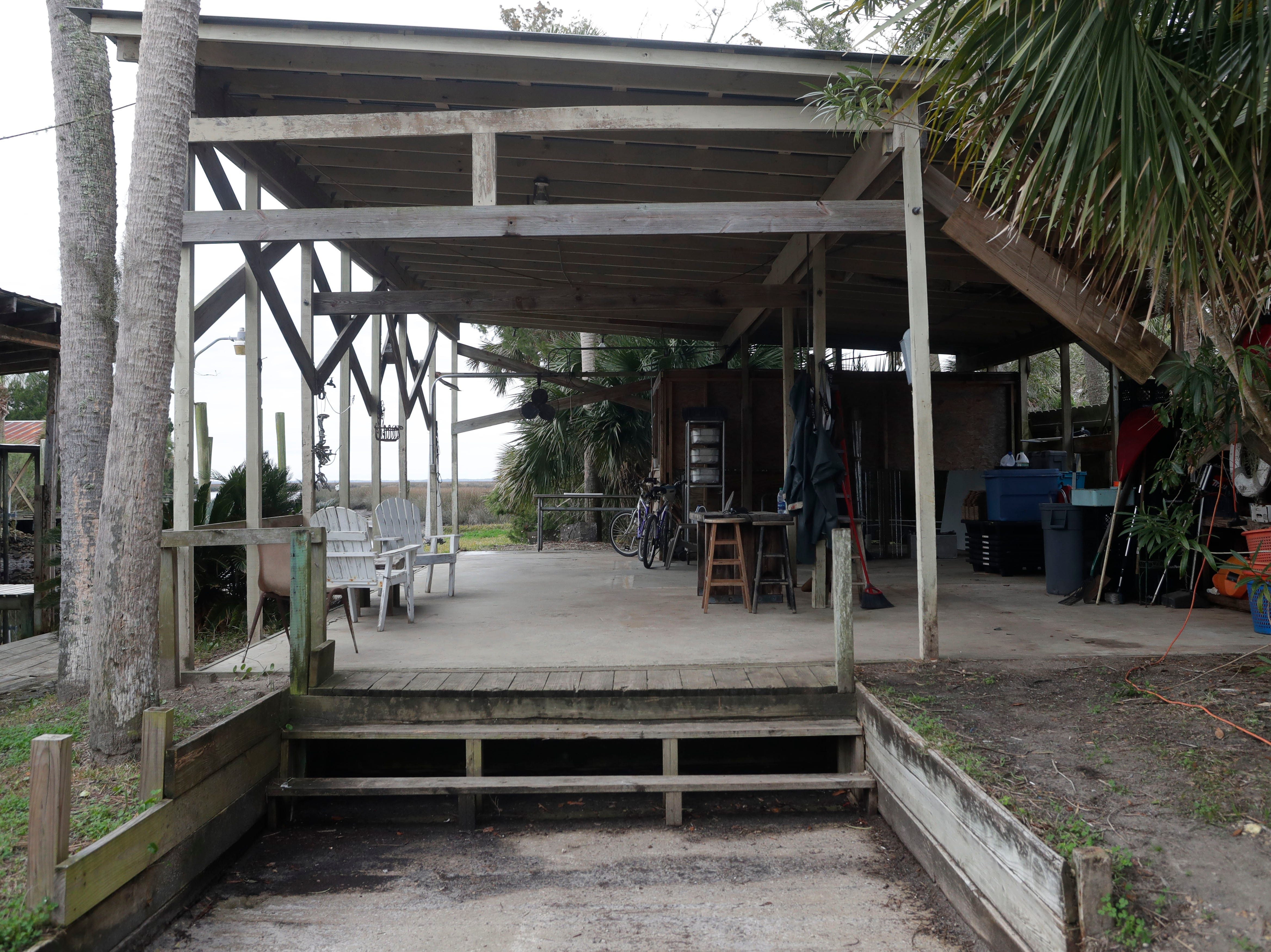The walk-in cooler at the Spring Creek marina stands without walls, Tuesday Feb. 5, 2019. Hurricane Michael ripped through the panhandle Oct. 10, 2018.