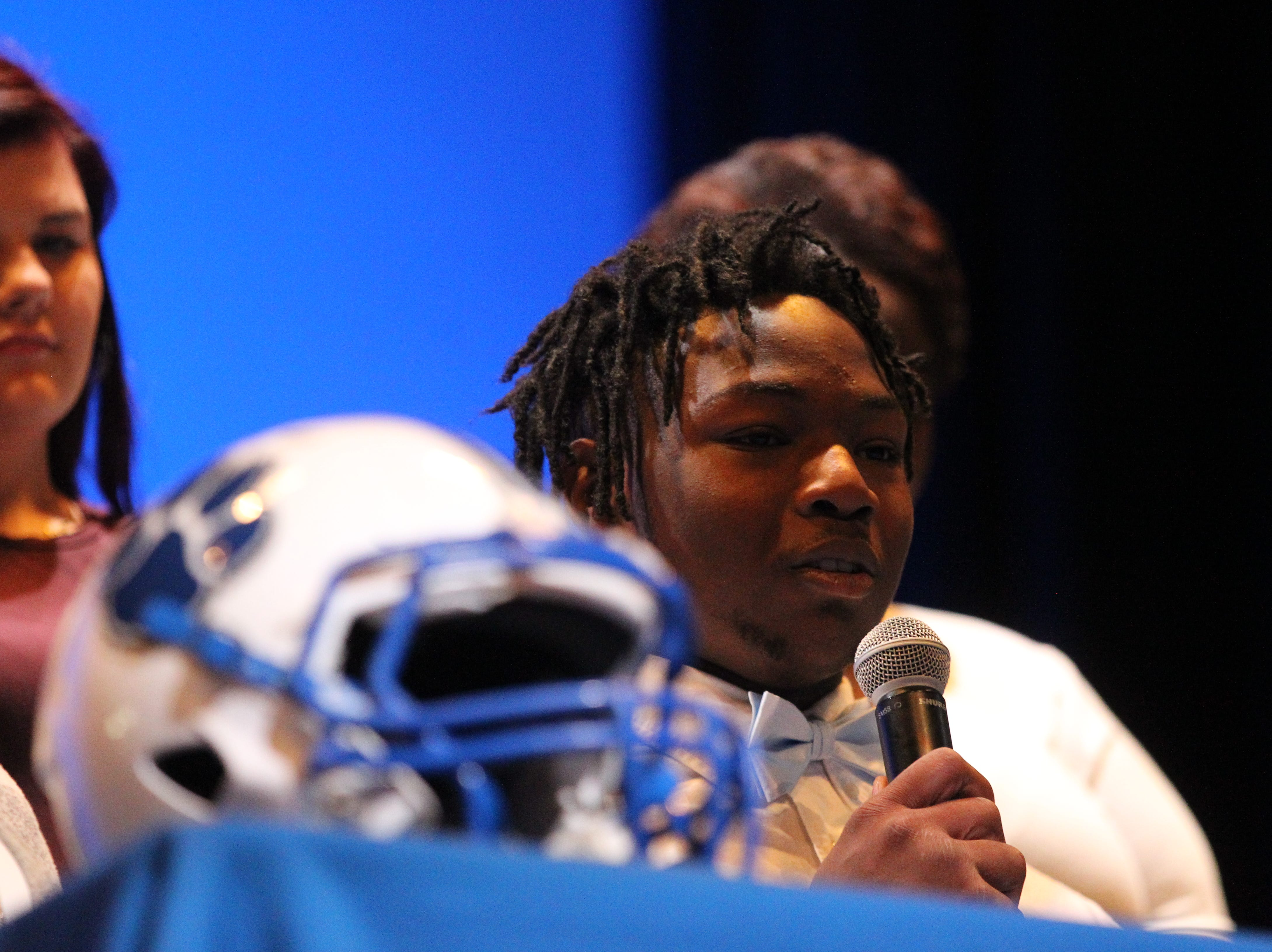 Godby offensive lineman Jordan Wiggins signed with Georgia Southern during signing ceremonies on National Signing Day, Feb. 6, 2019.