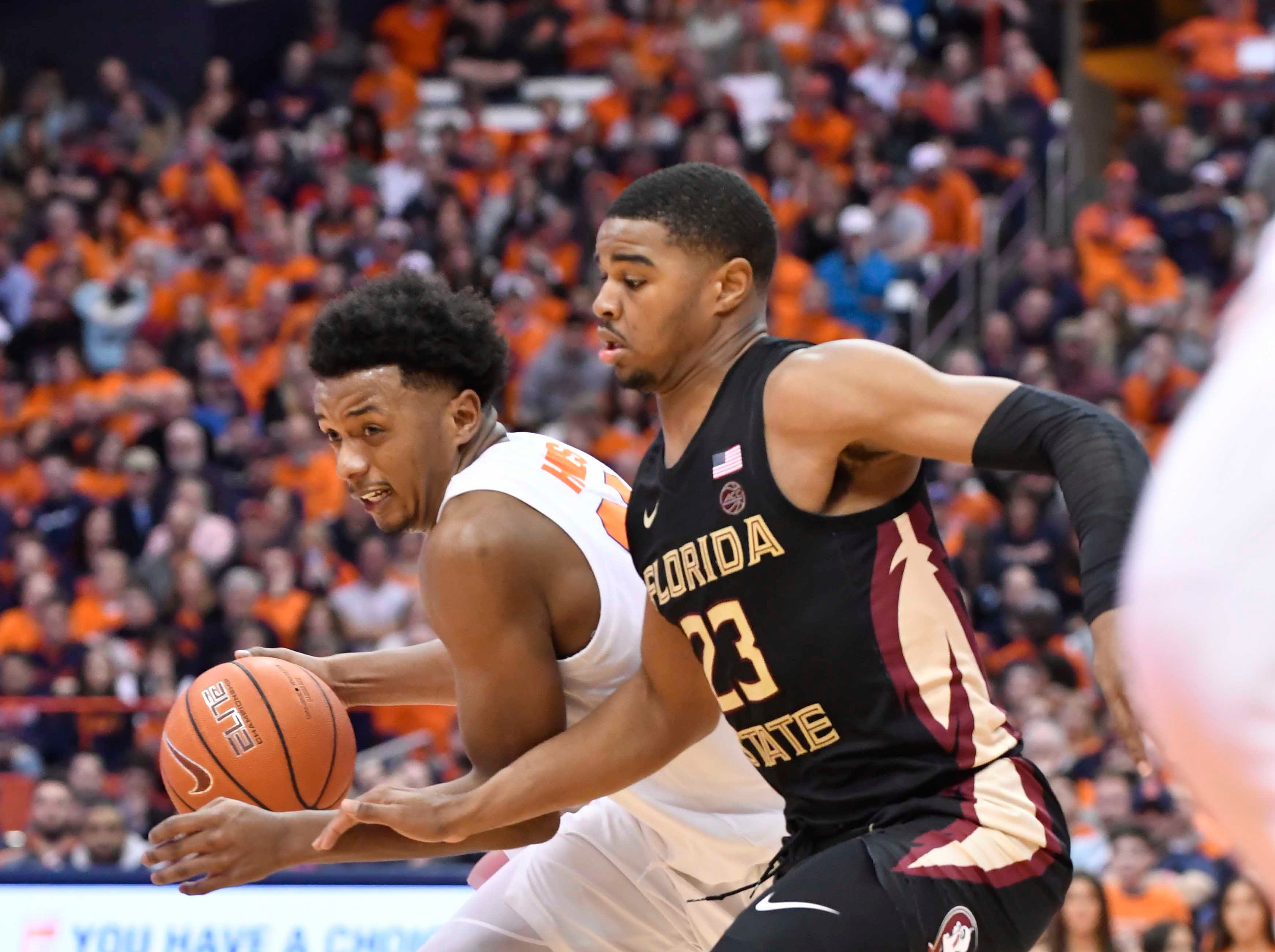 Feb 5, 2019; Syracuse, NY, USA; Syracuse Orange forward Elijah Hughes (33) drives the ball past Florida State Seminoles guard M.J. Walker (23) in the second half at the Carrier Dome. Mandatory Credit: Mark Konezny-USA TODAY Sports