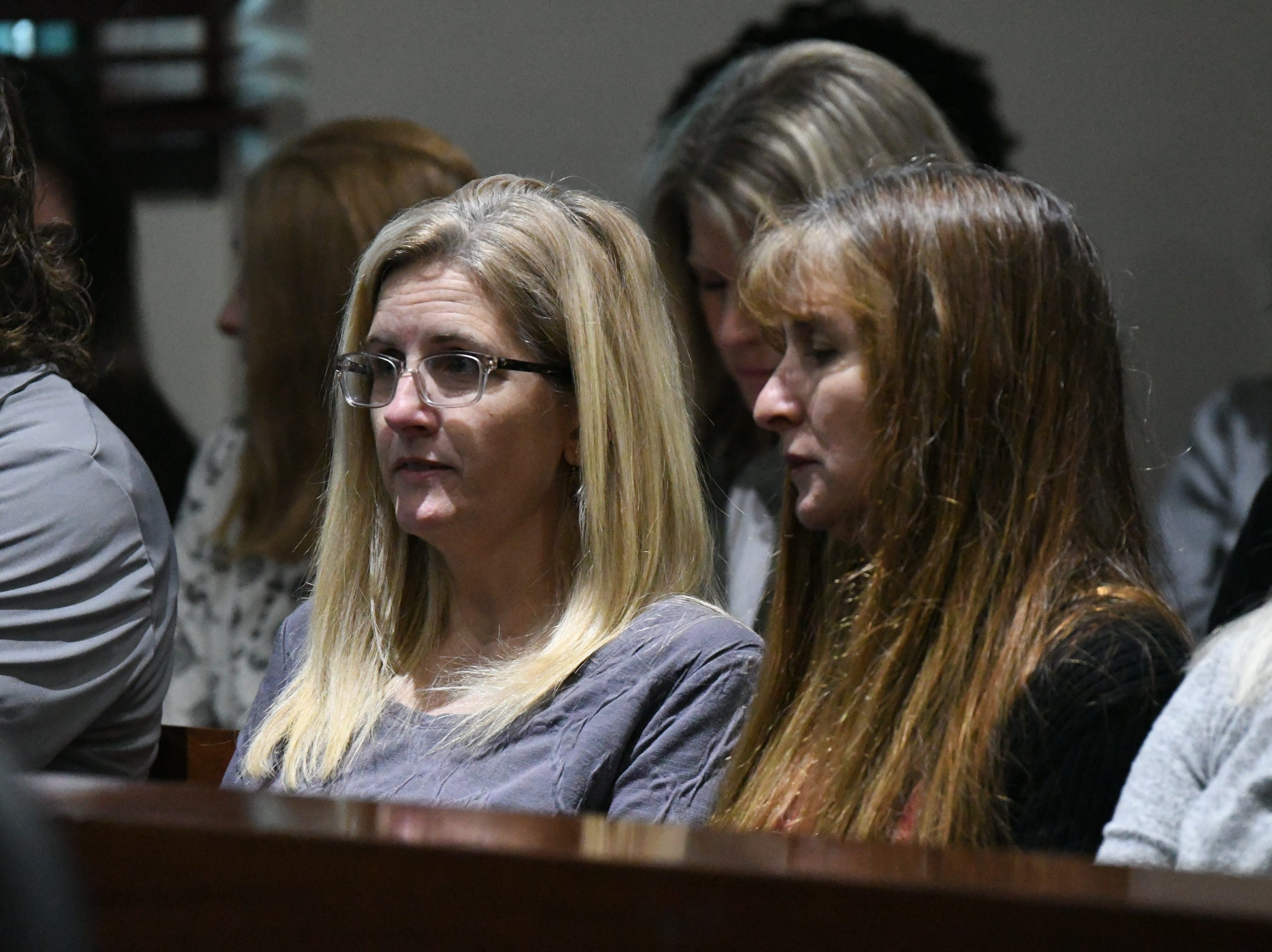 Friends and family of Denise Williams sit in the gallery of the court room for Williams' sentencing, Wednesday Feb. 6, 2019. Williams was sentenced to life in prison plus thirty years for the murder of her husband Mike Williams.