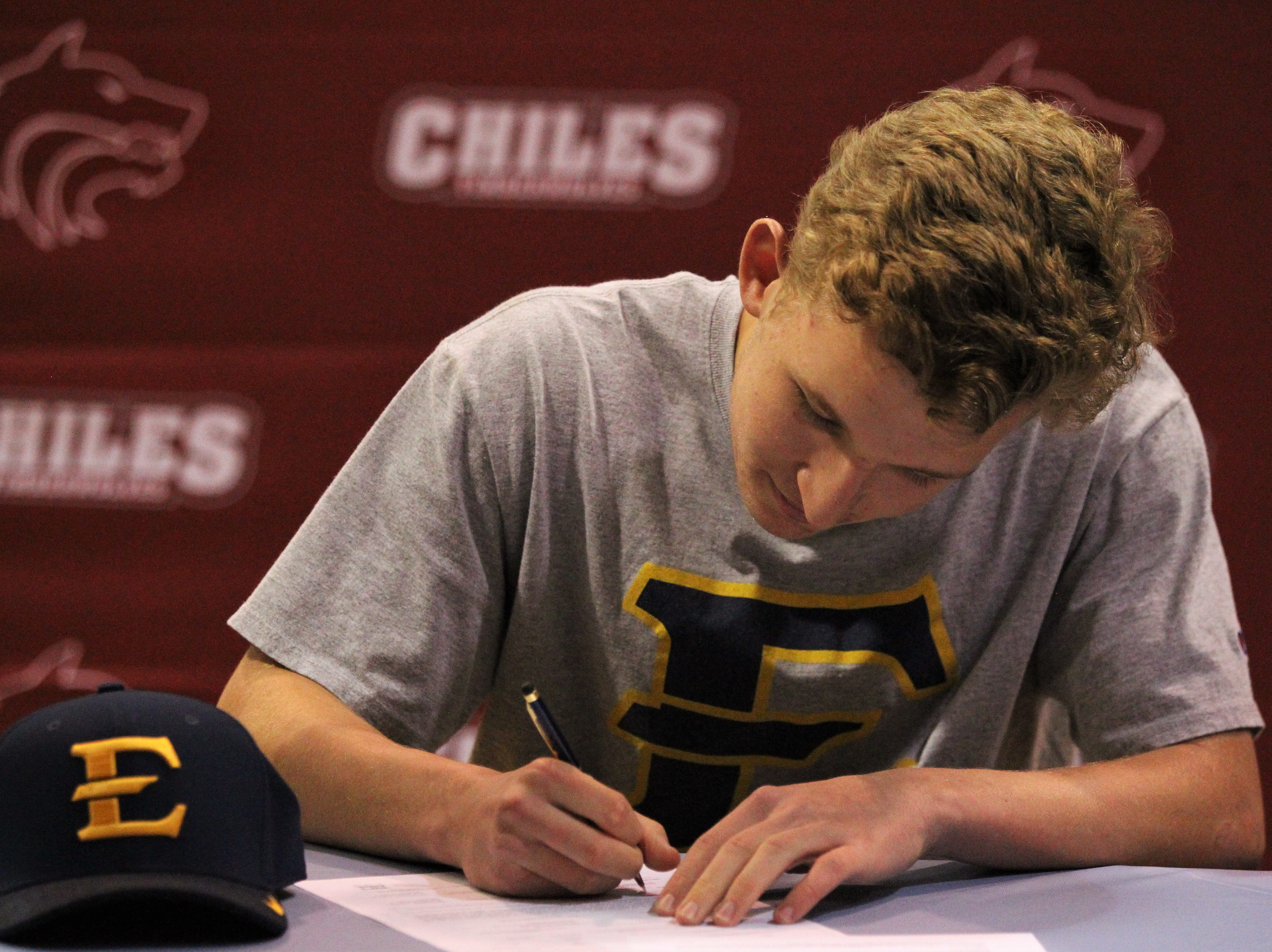 Chiles' Tyler Keltner signed with East Tennessee State during National Signing Day ceremonies on Feb. 6, 2019.