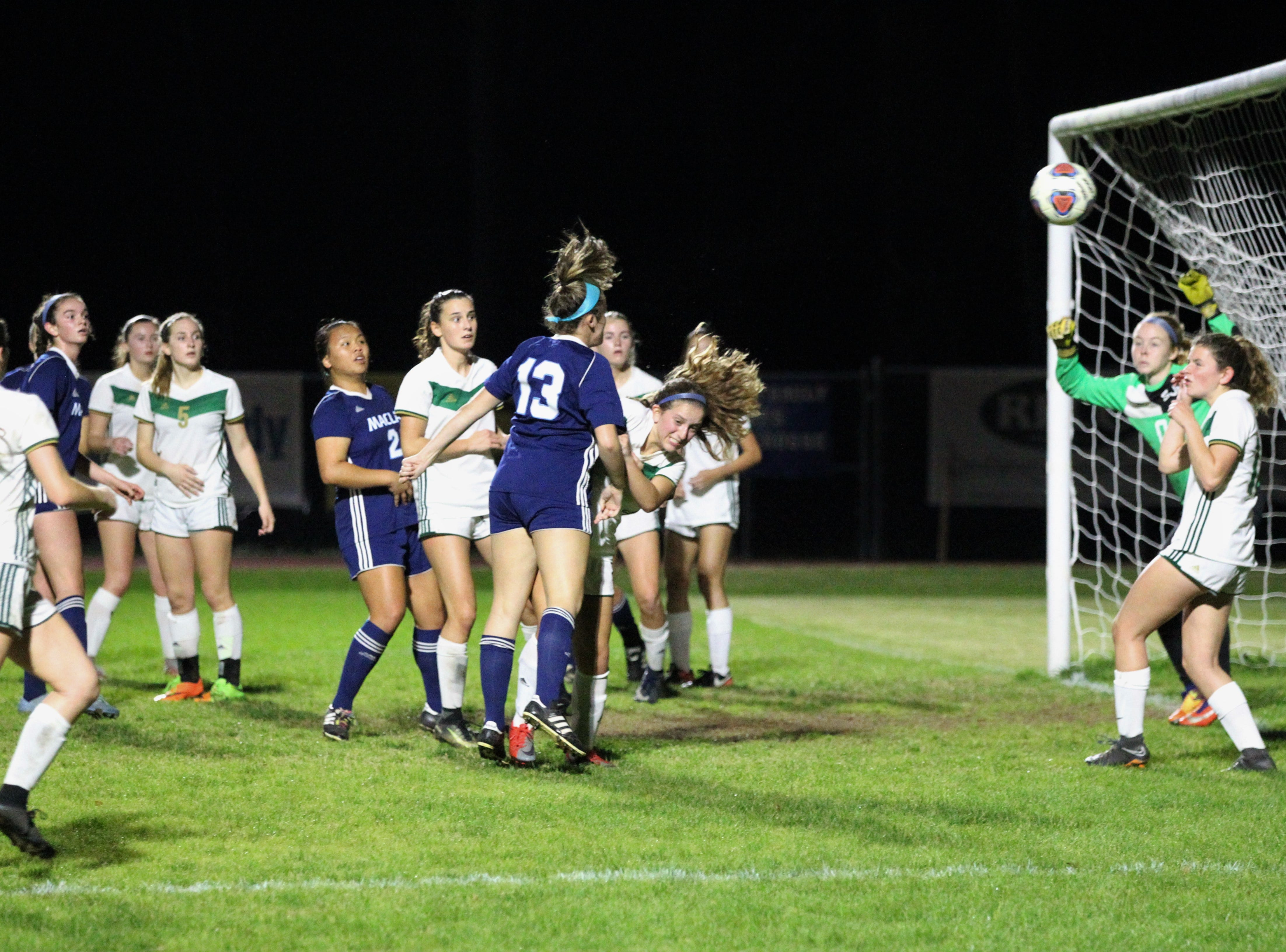 Maclay's Hailey Hobbs heads a corner kick that just sails wide of goal as Maclay's girls soccer team beat St. Joseph Academy 4-0 in a Region 1-1A quarterfinal on Jan. 5, 2019.
