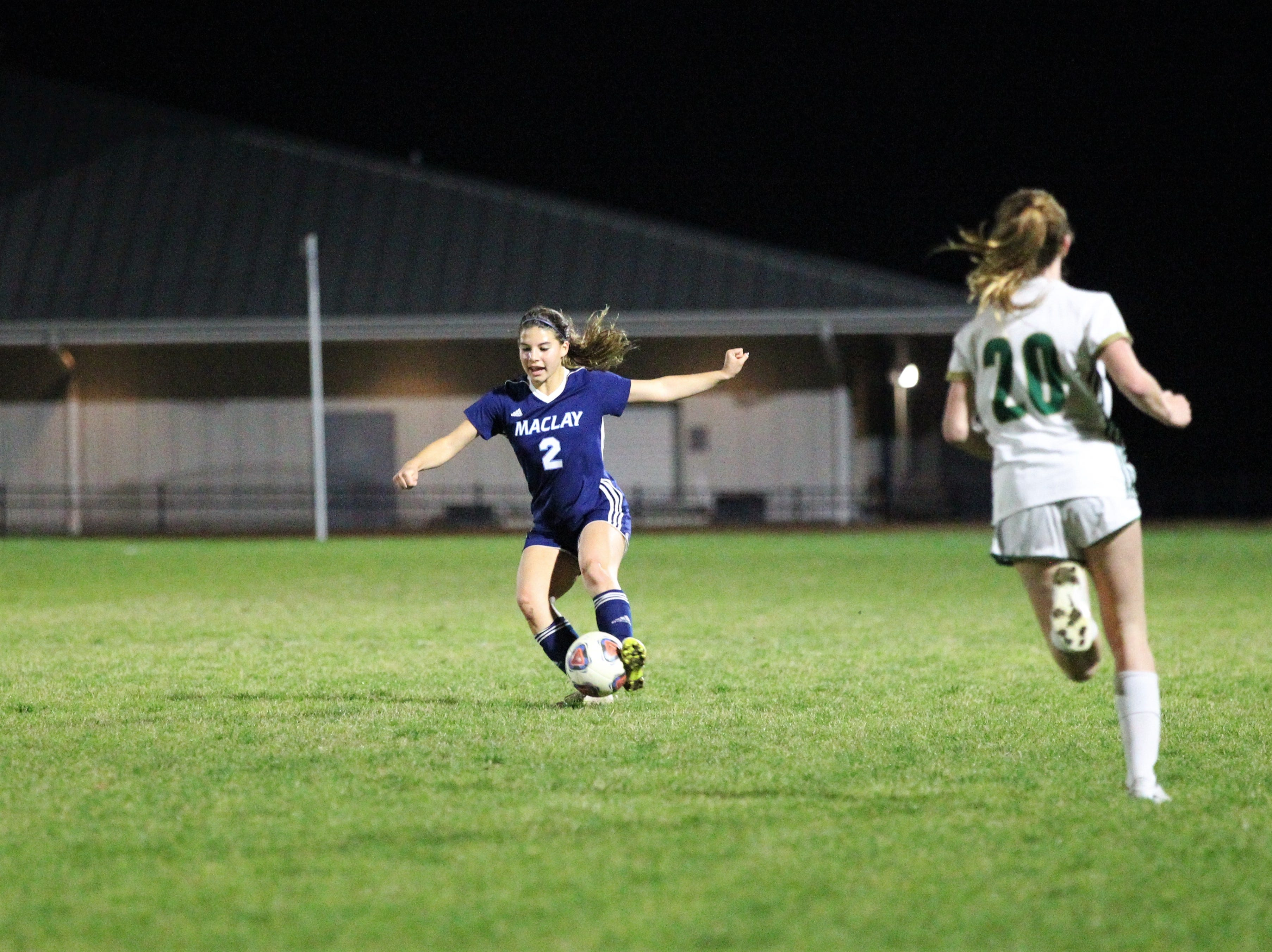 Maclay's Nicole Macri sends a left-footed pass as Maclay's girls soccer team beat St. Joseph Academy 4-0 in a Region 1-1A quarterfinal on Jan. 5, 2019.