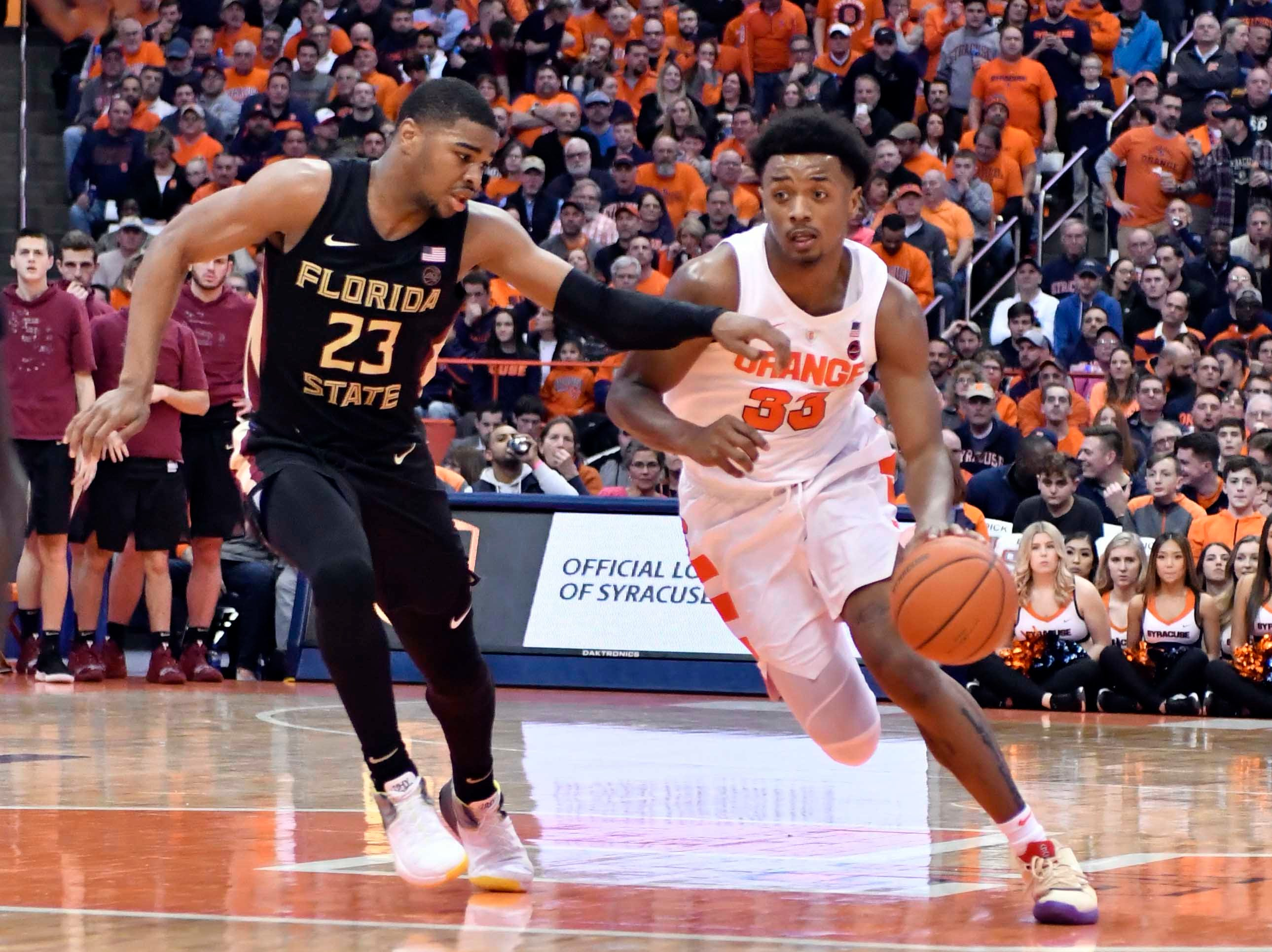 Feb 5, 2019; Syracuse, NY, USA; Syracuse Orange forward Elijah Hughes (33) works to drive the ball past Florida State Seminoles guard M.J. Walker (23) in the second half at the Carrier Dome. Mandatory Credit: Mark Konezny-USA TODAY Sports