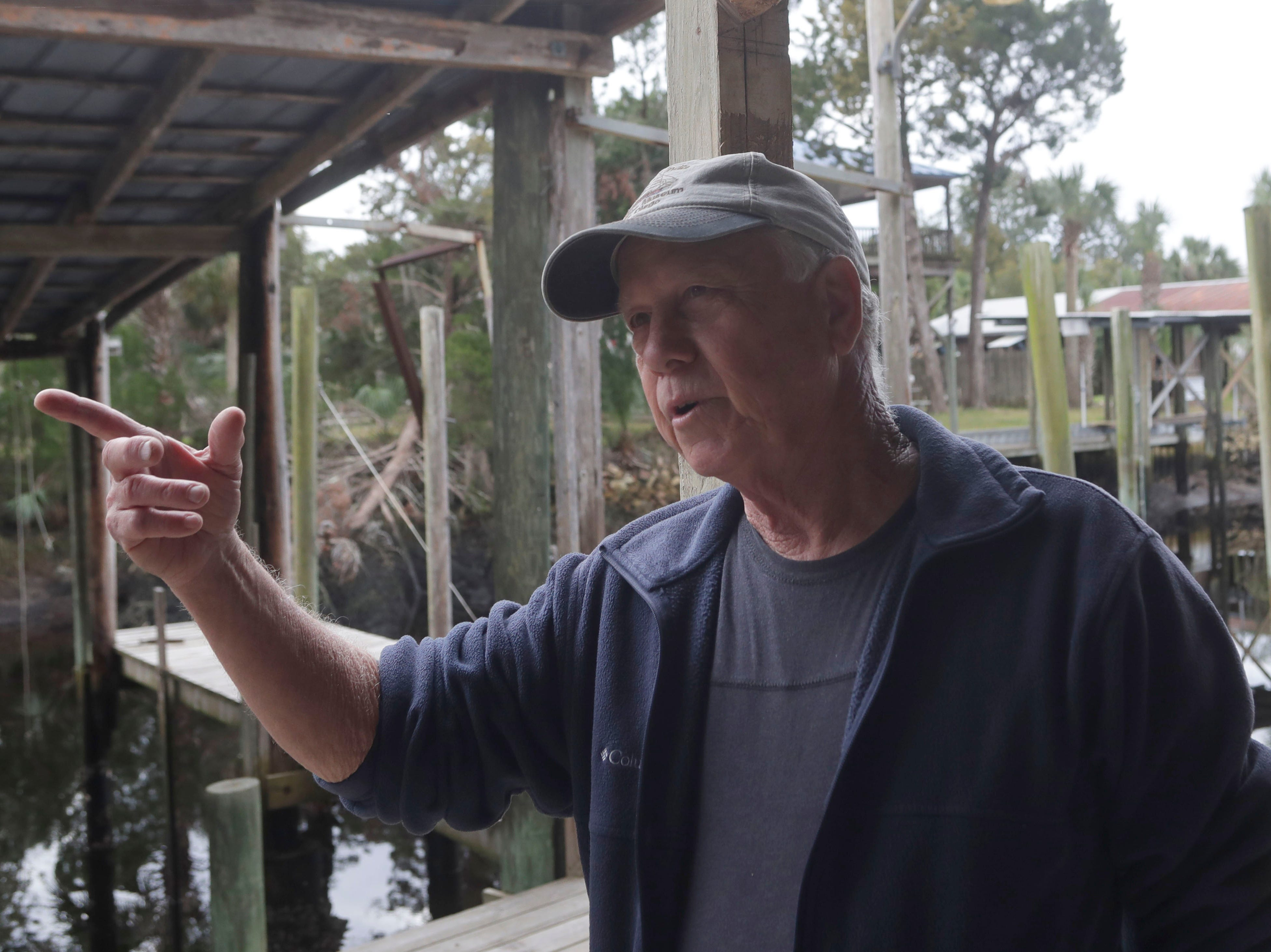 Leo Lovell, owner of the Spring Creek Restaurant, describes the damaged the Spring Creek marina was faced with after Hurricane Michael hit in Oct. 2018.