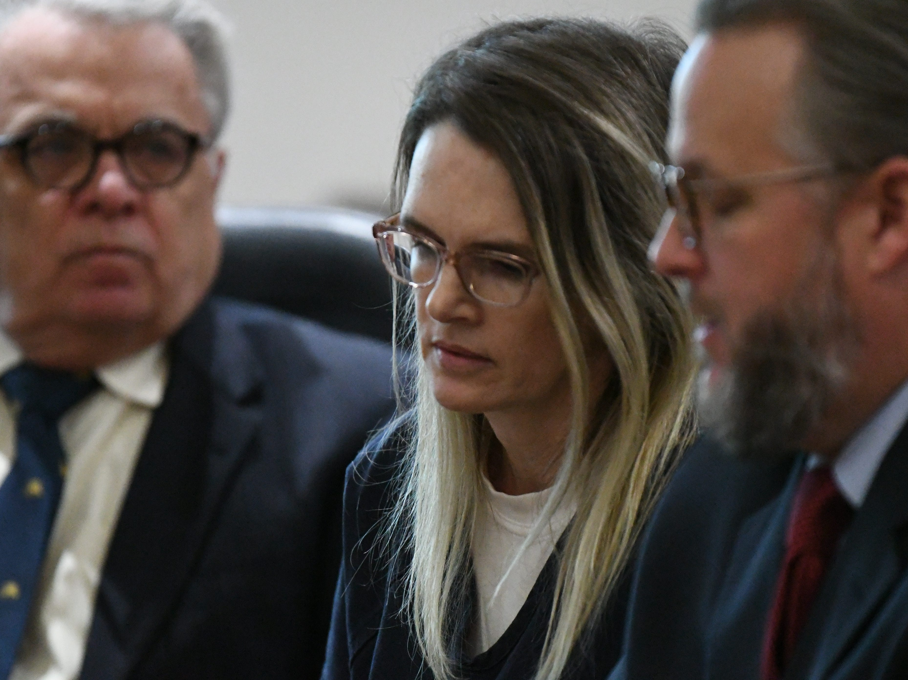 Denise Williams sits between her defense attorneys before her sentencing on Wednesday Feb. 6, 2019, for the murder of her husband Mike Williams. Williams was sentenced to life in prison plus thirty years.