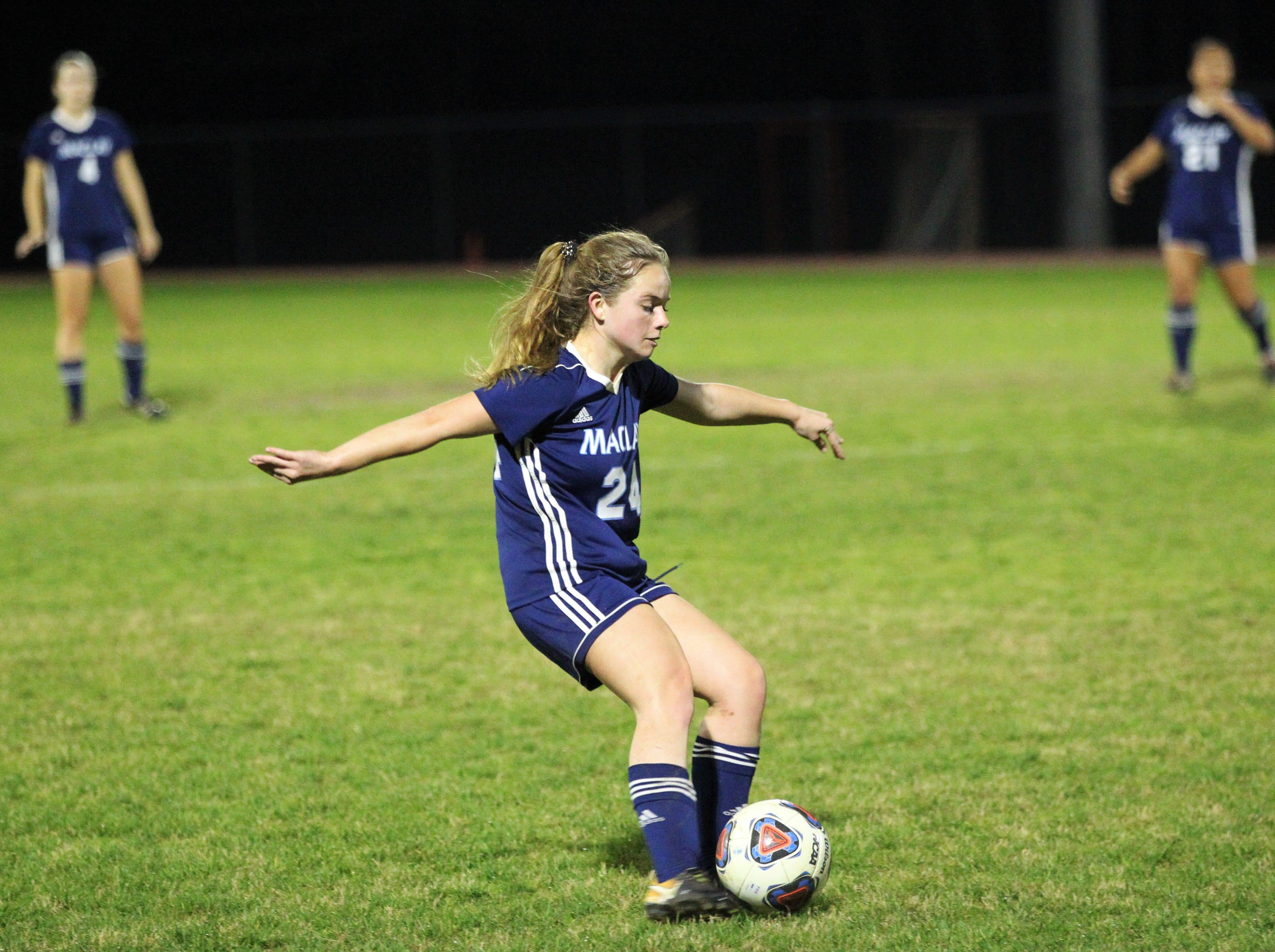 Maclay's Lauren Dessi takes a free kick as Maclay's girls soccer team beat St. Joseph Academy 4-0 in a Region 1-1A quarterfinal on Jan. 5, 2019.