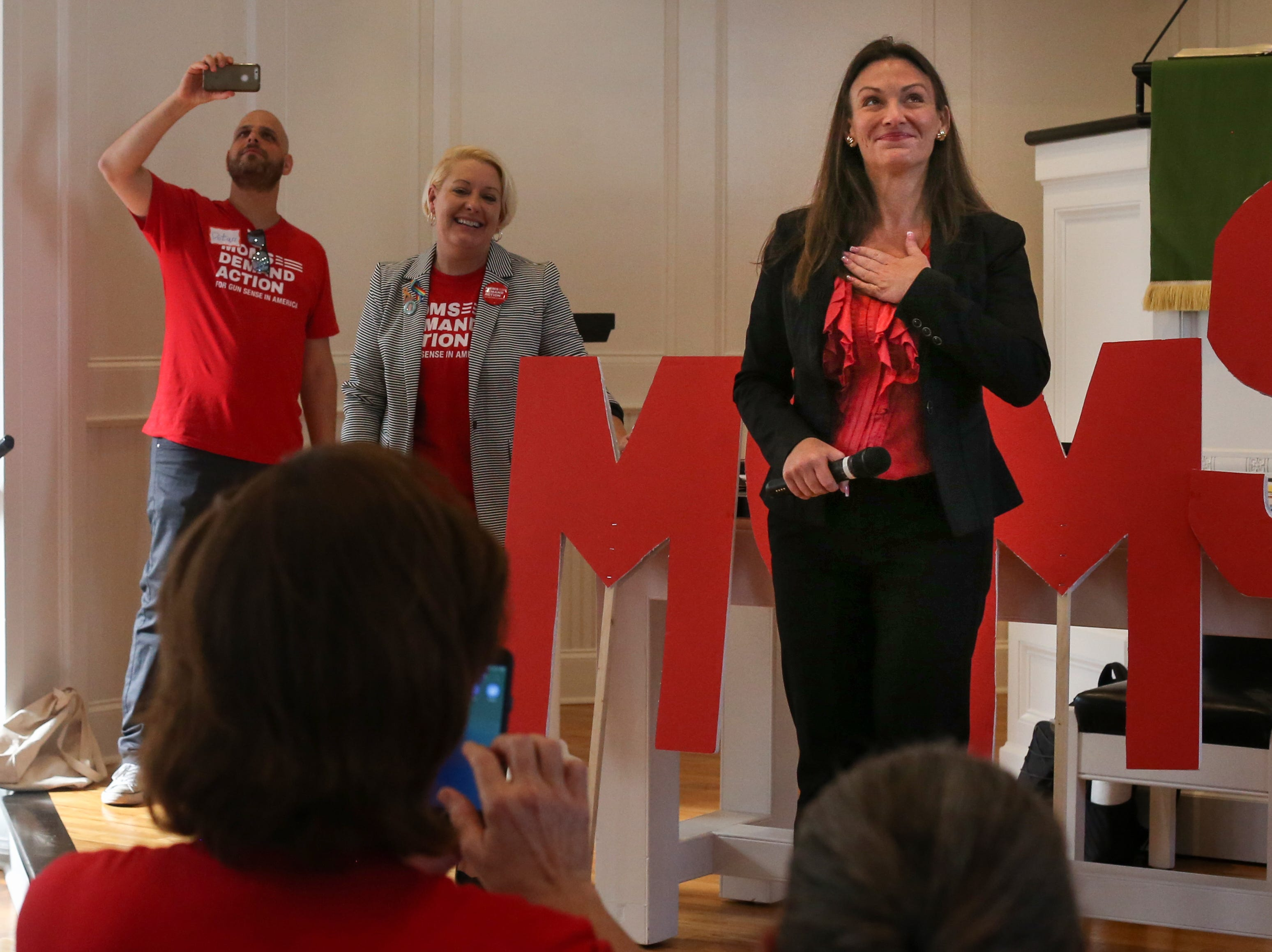 Agriculture Commissioner Nikki Fried is met with a standing ovation and cheers as she takes the stage in front of First Presbyterian Church in Tallahassee to address over 500 members of Moms Demand Action from all over Florida. The activists spent Wednesday, Feb. 6, 2019 in Tallahassee meeting with lawmakers to lobby for stricter gun laws. Fried gave them tips for how to talk to the lawmakers and their aides.