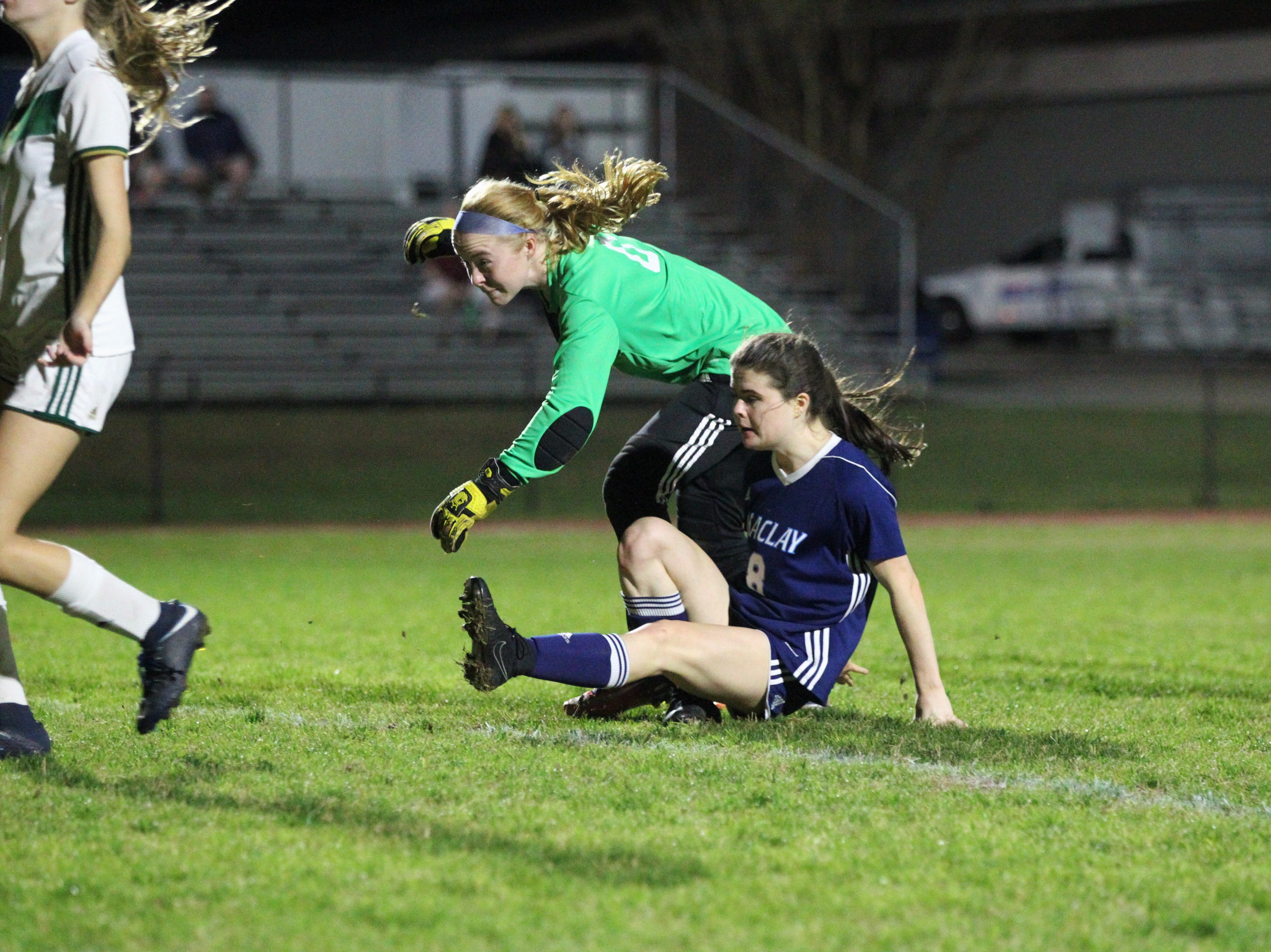 Maclay's Katie Lynch watches a defender misjudge a throw-in, leading to Lynch's goal in the box as Maclay's girls soccer team beat St. Joseph Academy 4-0 in a Region 1-1A quarterfinal on Jan. 5, 2019.