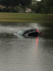 Man accused of driving car into pond while intoxicated in Stuart.
