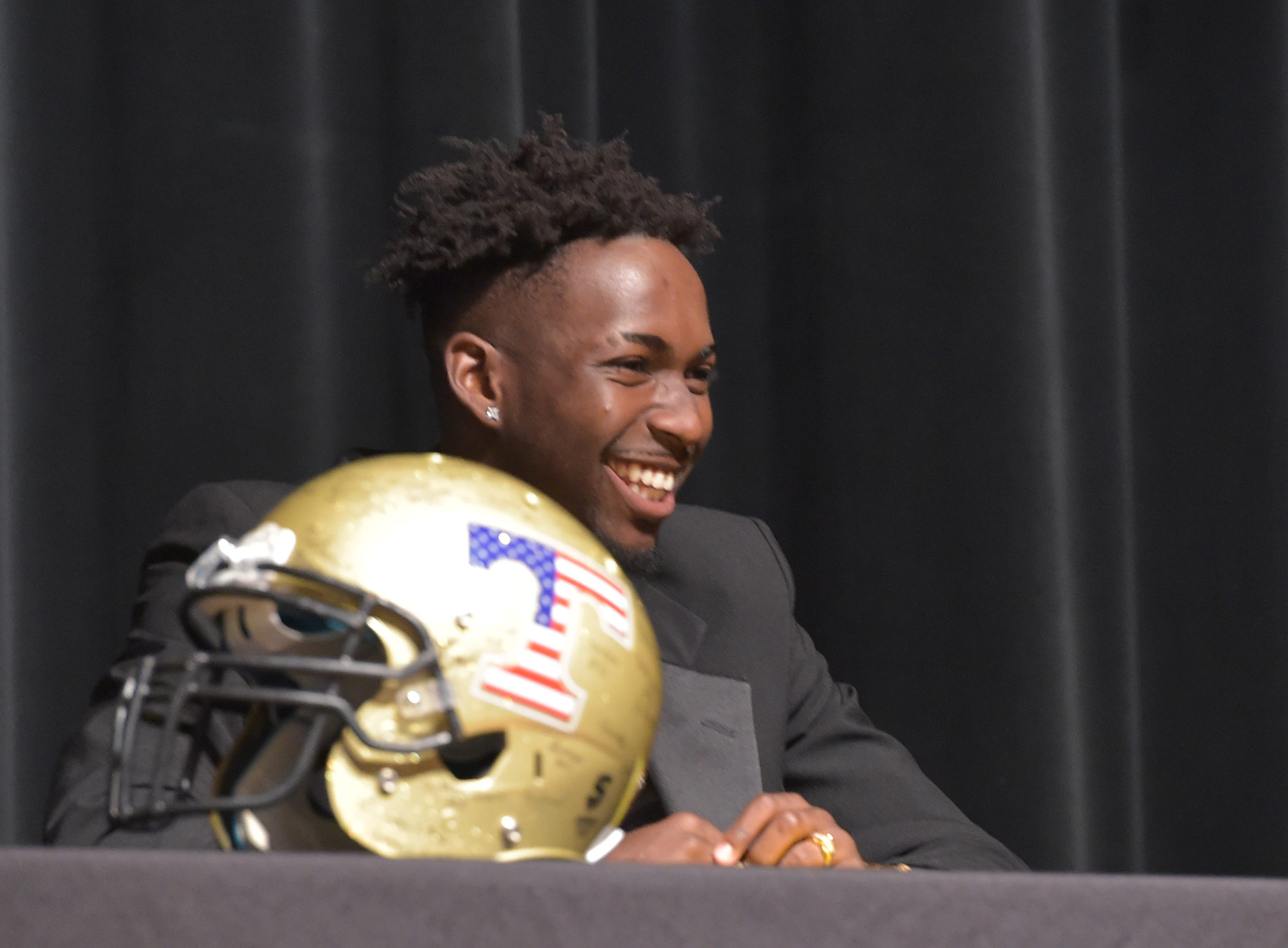 National Signing Day celebration at Treasure Coast High School auditorium on Wednesday, Feb. 6, 2019, in Port St. Lucie. Joel Rose signed with Valdosta State, Jerry Johnson signed with Rice University, Shamar Minnis signed with Bethune-Cookman University, Tyrec Thompson signed with Iowa Western, Joshua Nunes signed with Central State University in Ohio, Brendon Joseph signed with Ave Maria University, and Anthony Martens signed with University of West Florida to play baseball.
