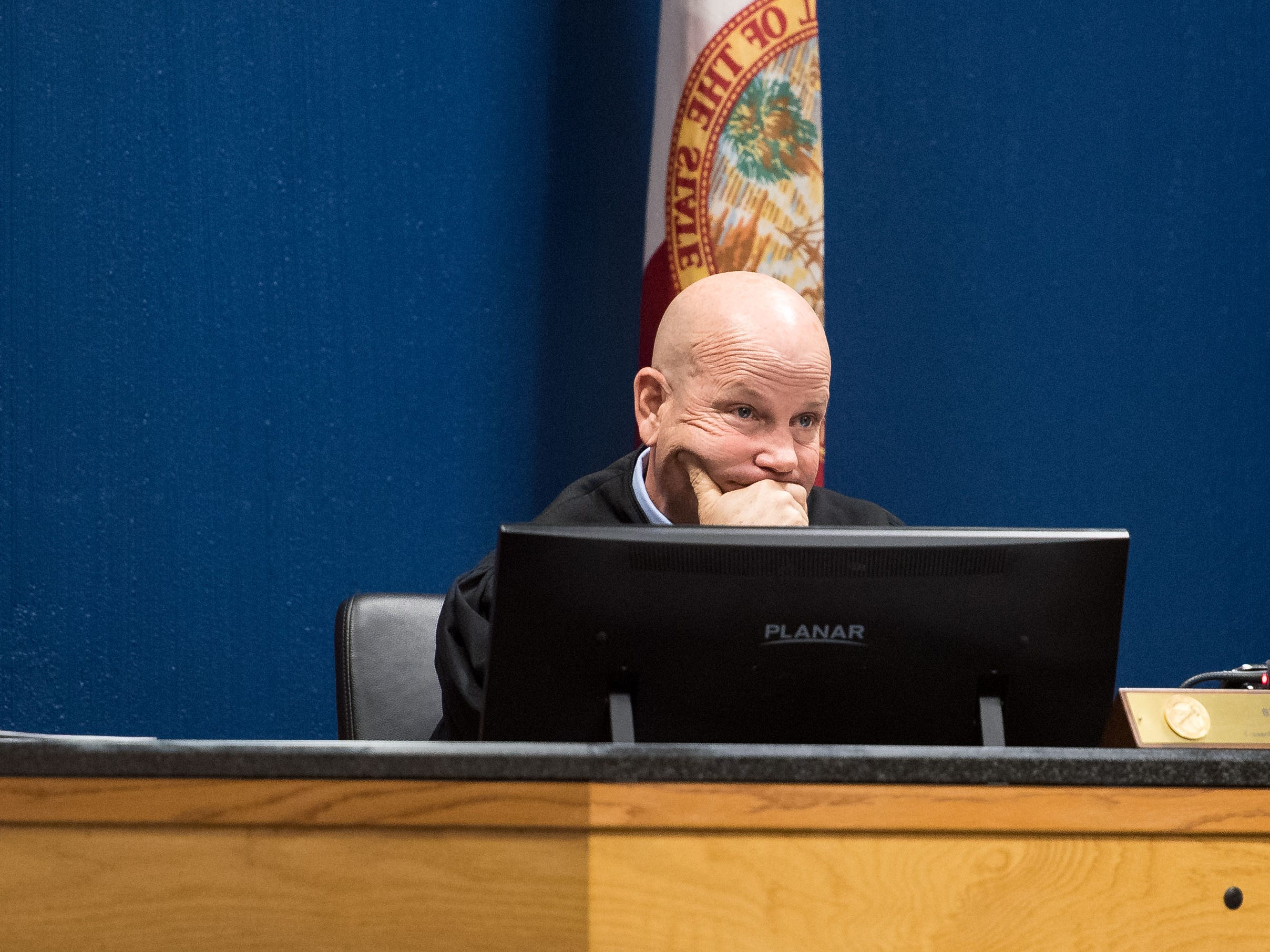 Judge Sherwood Bauer listens to lawyers for Austin Harrouff and the state prosecution Wednesday, Feb. 6, 2019, at the Martin County Courthouse in Stuart.