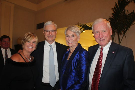 Suzanne Bolinger, left, with GYAC Board President Adam Bolinger, Marcia Littlejohn and Karl Zimmermann at the Snow Ball.