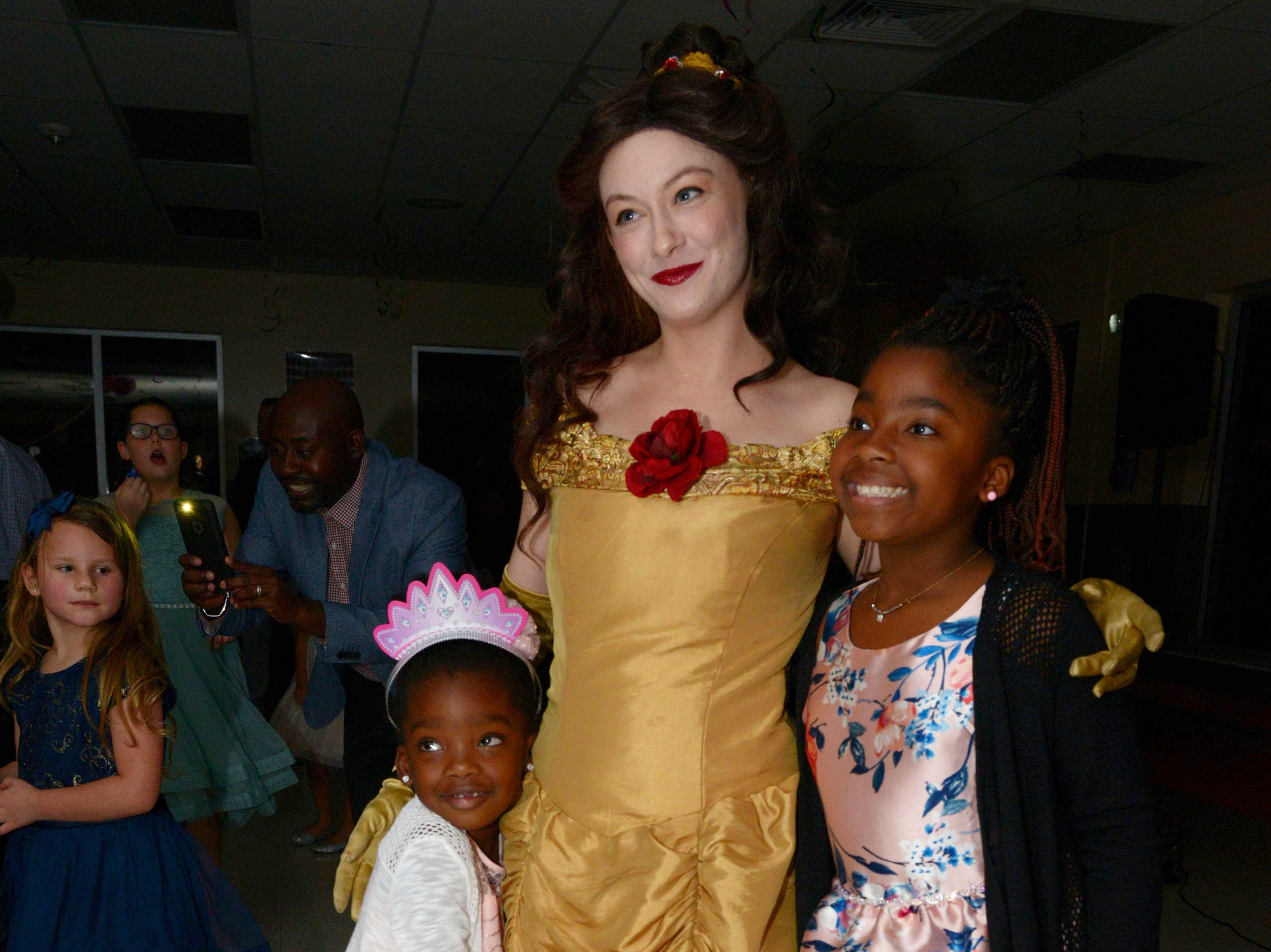 Layna and Makayla with Princess Belle at the Father/Daughter/Someone Special Dance at Renaissance Charter School of St. Lucie.