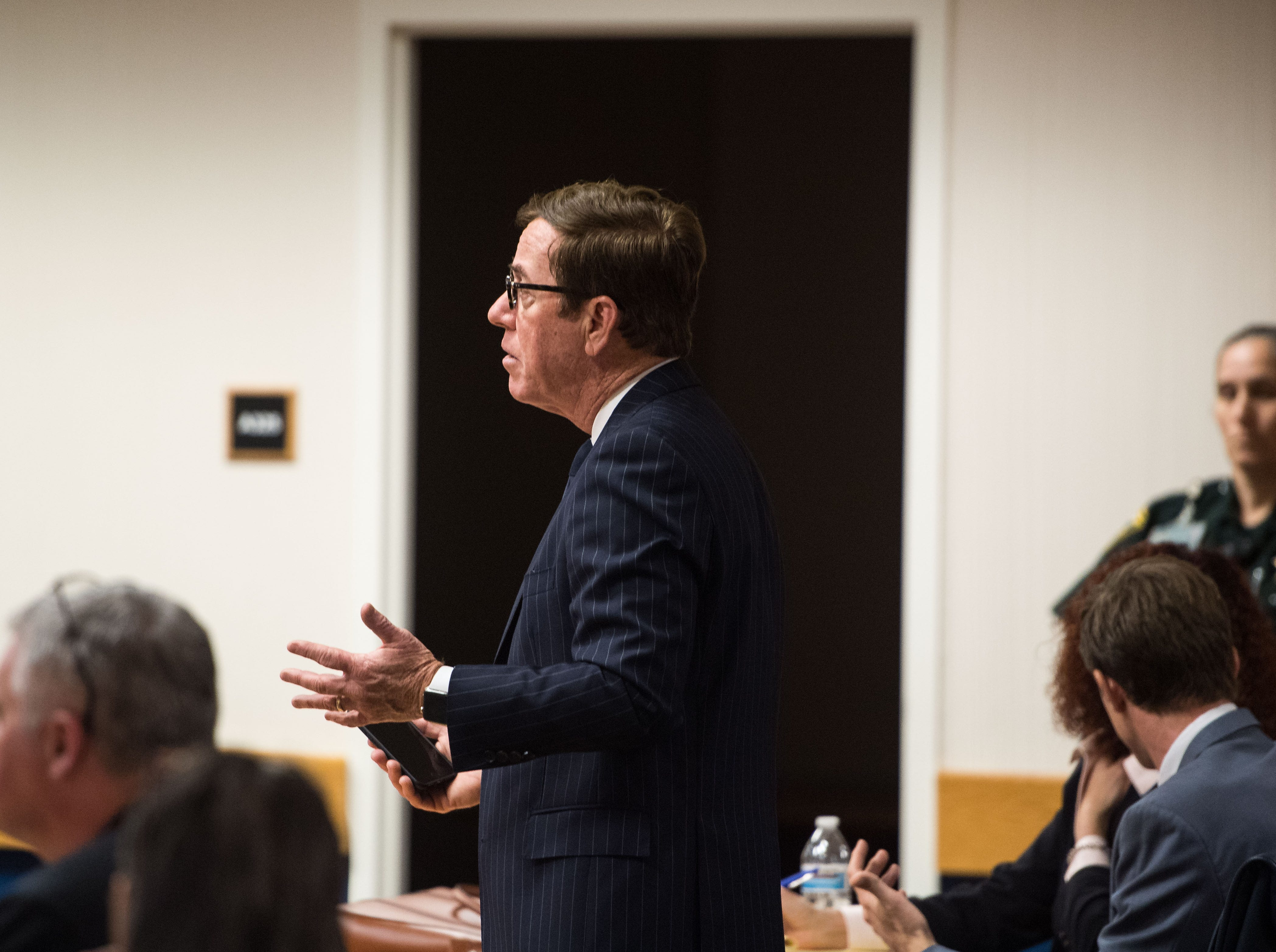 Lawyers for the defense of Austin Harrouff and the state prosecution appear before Judge Sherwood Bauer for a status hearing Wednesday, Feb. 6, 2019, at the Martin County Courthouse in Stuart.