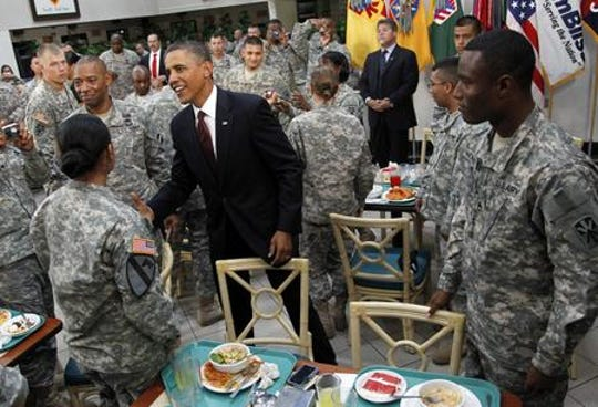 President Barack Obama greets members of the military at Fort Bliss in El Paso, Texas, Tuesday, Aug. 31, 2010. (AP Photo/Pablo Martinez Monsivais)