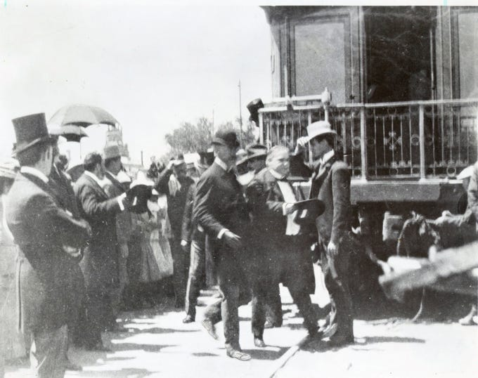 """El Paso, TX 1901. President William McKinley alighting from his private railway car, """"Olympia"""" after arrival for a one day visit, while in route to Phoenix, AZ and the West Coast."""