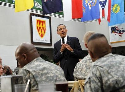 President Barack Obama speaks to members of the military, Tuesday, Aug. 31, 2010, at Fort Bliss in El Paso, Texas. (AP Photo/Pablo Martinez Monsivais)