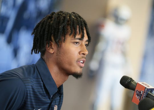 UTEP freshman quarterback recruit TJ Goodwin from Cypress Falls High School in Houston talks to the media Wednesday at UTEP.
