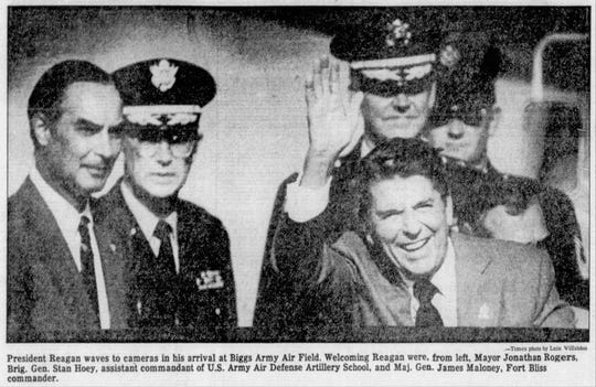 President Reagan waves to cameras in his arrival at Biggs Army Air Field. Welcoming Reagan were, from left, Mayor Jonathan Rogers, Brig. Gen. Stan Hoey, assistant commandant of U.S.. Army Air Defense Artillery School, and Maj. Gen. James Maloney, Fort Bliss commander.