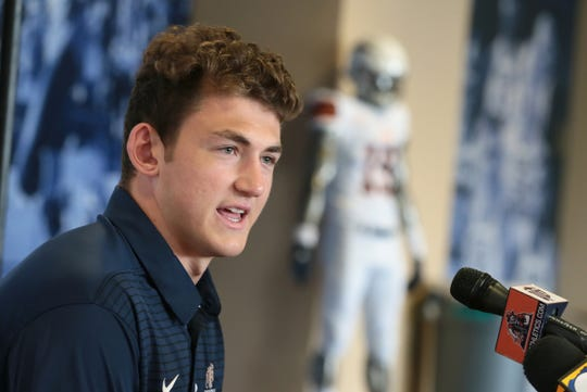 Junior tight end transfer Luke Laufenberg is introduced Wednesday during UTEP's national signing day event.