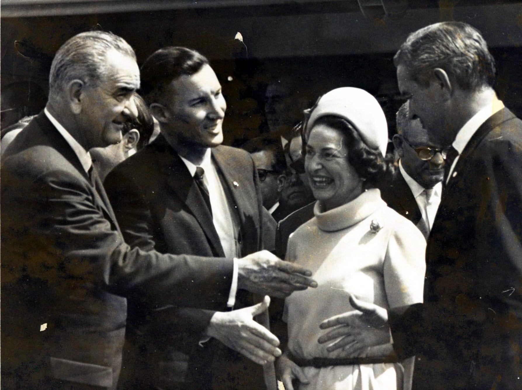 September 25, 1964 - President Lyndon Johnson, first left, Lady Bird Johnson, third from left.