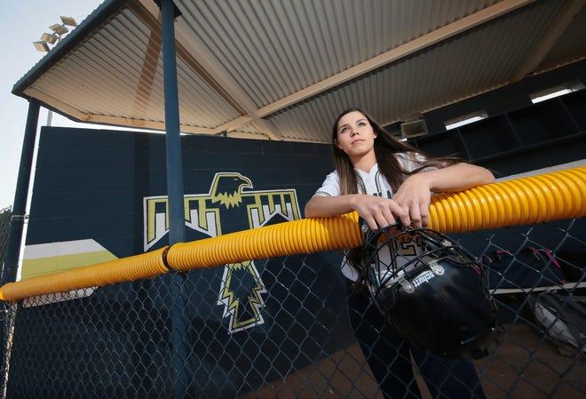 Coronado junior catcher Savannah Bejarano is emerging as a leader on the Thunderbirds' softball team.