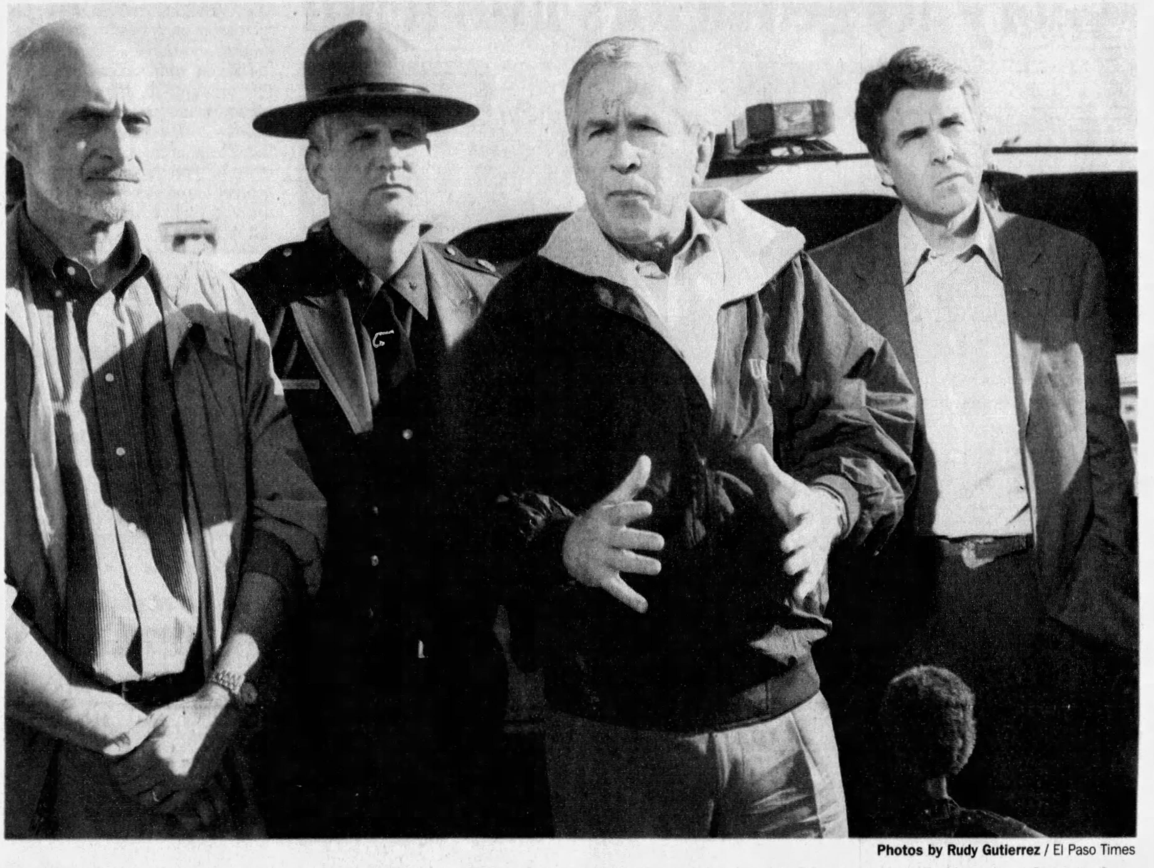 President Bush spoke about border security and immigration reform during a stop along the levee road near Bowie High School. The president toured the border area during a morning visit to El Paso. Bush was joined on his 90-minuted tour by Homeland Security Secretary Micahel Chertoff, left, Border Patrol official Paul Beeson and Texas Gov. Rick Perry.