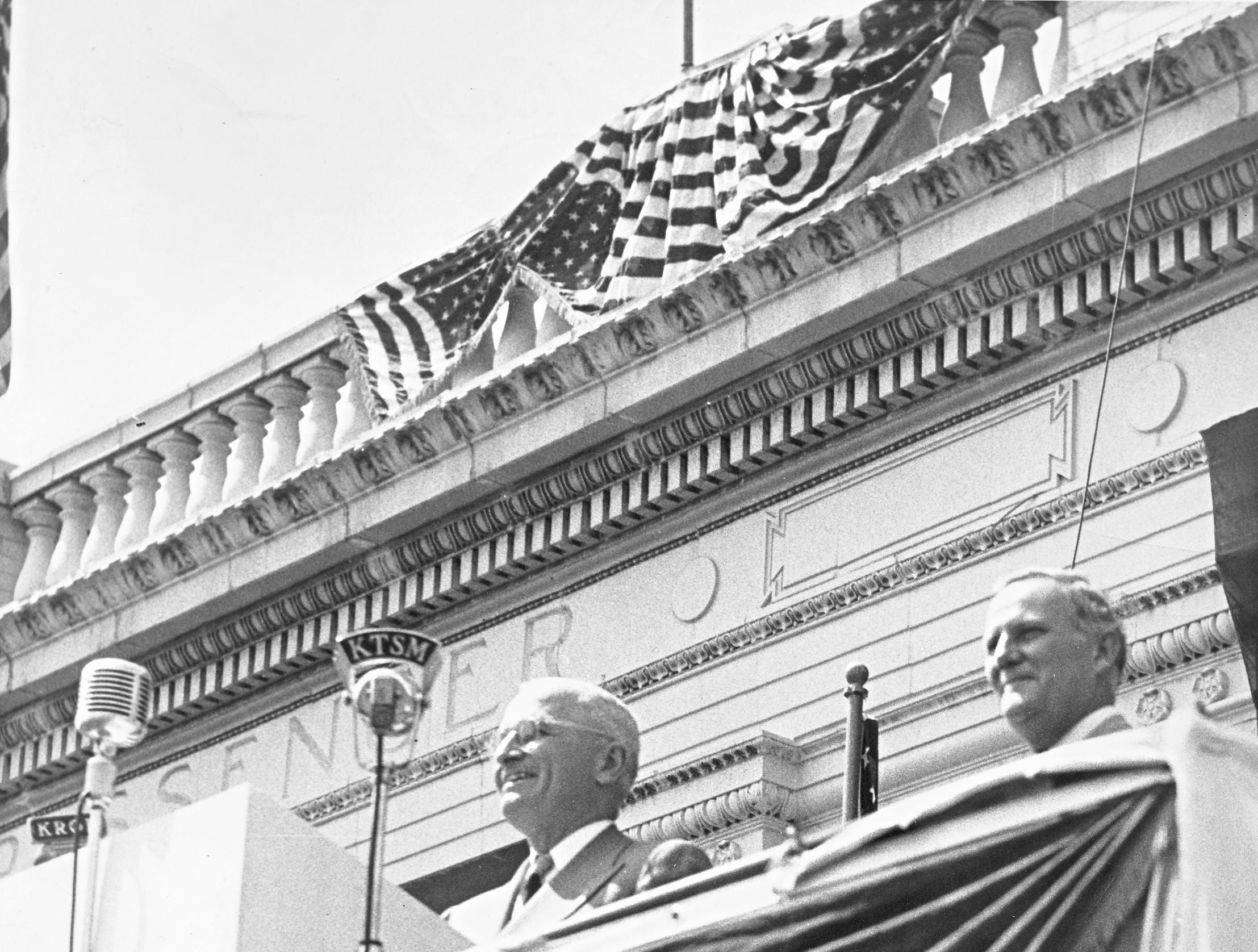 09/26/1948 PRESIDENT ADDRESSES EL PASOANS - President Truman, bringing his campaign tour to Texas, speaks from the flag decked platform installed in front of Union Depot. He just introduced Gov. Beauford Jester (right).