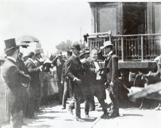 "El Paso 1901: President William McKinley alighting from his private railway car, ""Olympia,"" after arriving for a one-day visit while in route to Phoenix and the West Coast."