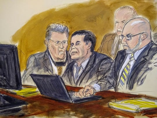 "In this courtroom drawing, Joaquin ""El Chapo"" Guzman, center, listens to the judge's answer to a question from the jury Wednesday, Feb. 6, 2019, in New York. A jury at the U.S. trial of the infamous Mexican drug lord ended its third day of deliberations without a verdict. From left are an interpreter, Guzman, and attorney Eduardo Balazero. U.S. marshals are seated behind the three men."