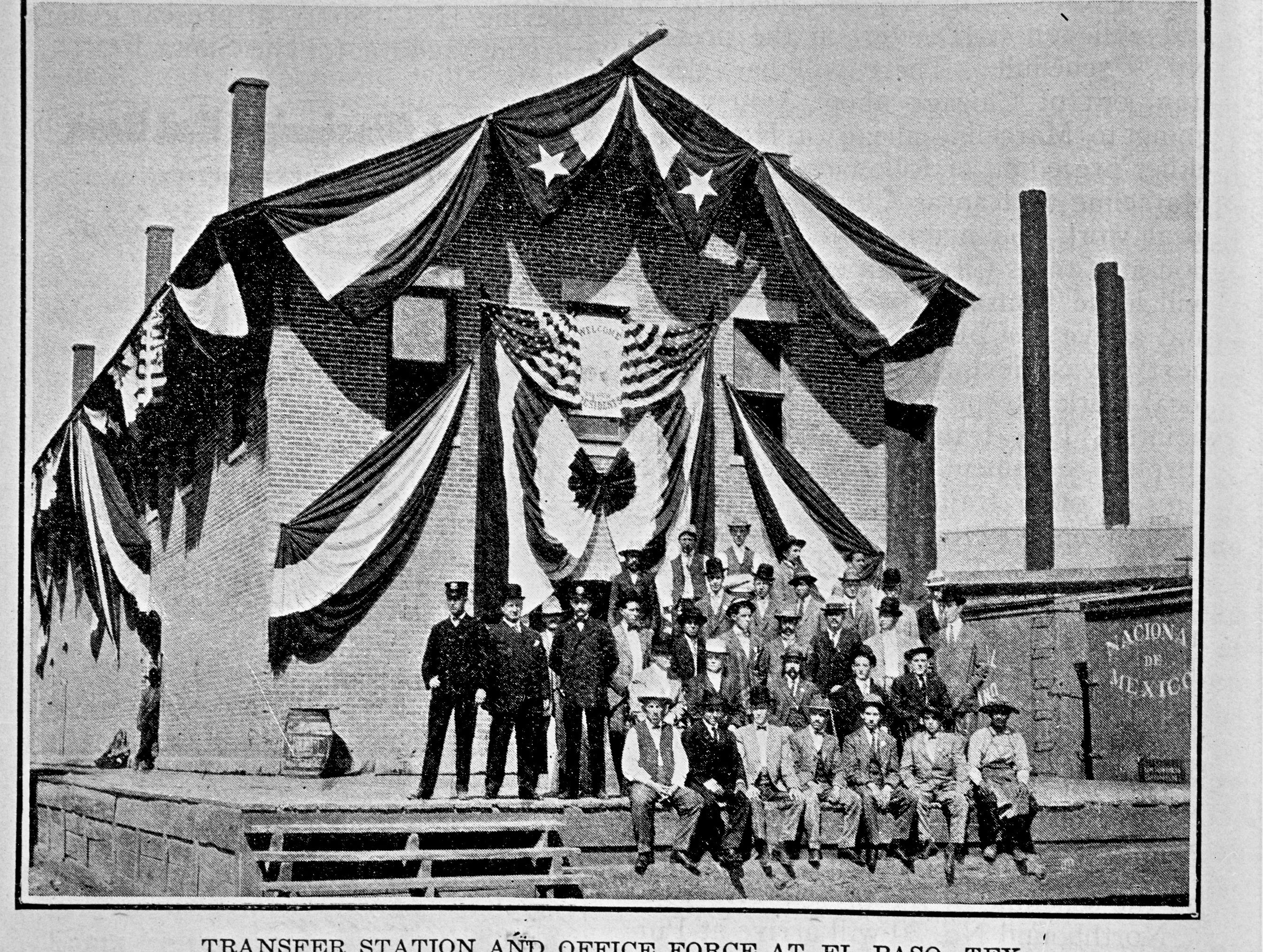 Oct. 16, 1909, was a big day for El Paso as President Porfirio Diaz of Mexico set foot on U.S. soil for the first time as president and U.S. President William Howard Taft met him here. Also historic was Taft's visit to Juarez, as it marked the first time a U.S. president had left the country while in office. Pictured on that occasion at the Santa Fe transfer station were these members of the transfer station and office force.