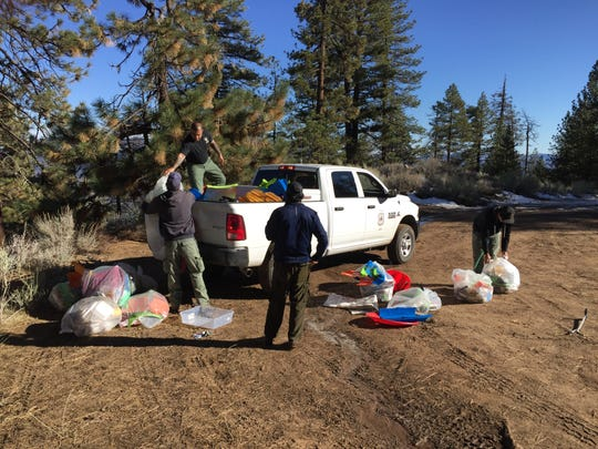 In one weekend, Los Padres National Forest collected four pickup loads of broken and abandoned sleds at Mount Pinos.