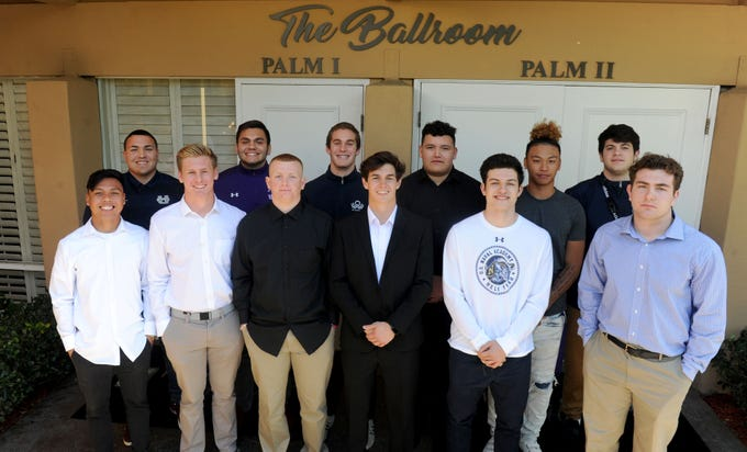 Local football players were honored Wednesday at the Ventura County coaches' annual signing day banquet at the Palm Garden Hotel in Newbury Park.