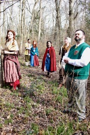 """(From left) Kristy Joe Slough as Cinderella, Andrew Jarema as the Baker, April Lindley as the Baker's Wife, Gabriella Prato as Little Red Riding Hood, Alex Manzo as Jack, and Dave Fusco as the Narrator are ready to go """"Into the Woods""""as the Off Broad Street Players' production opens on Feb. 8 at the Levoy Theatre in Millville."""
