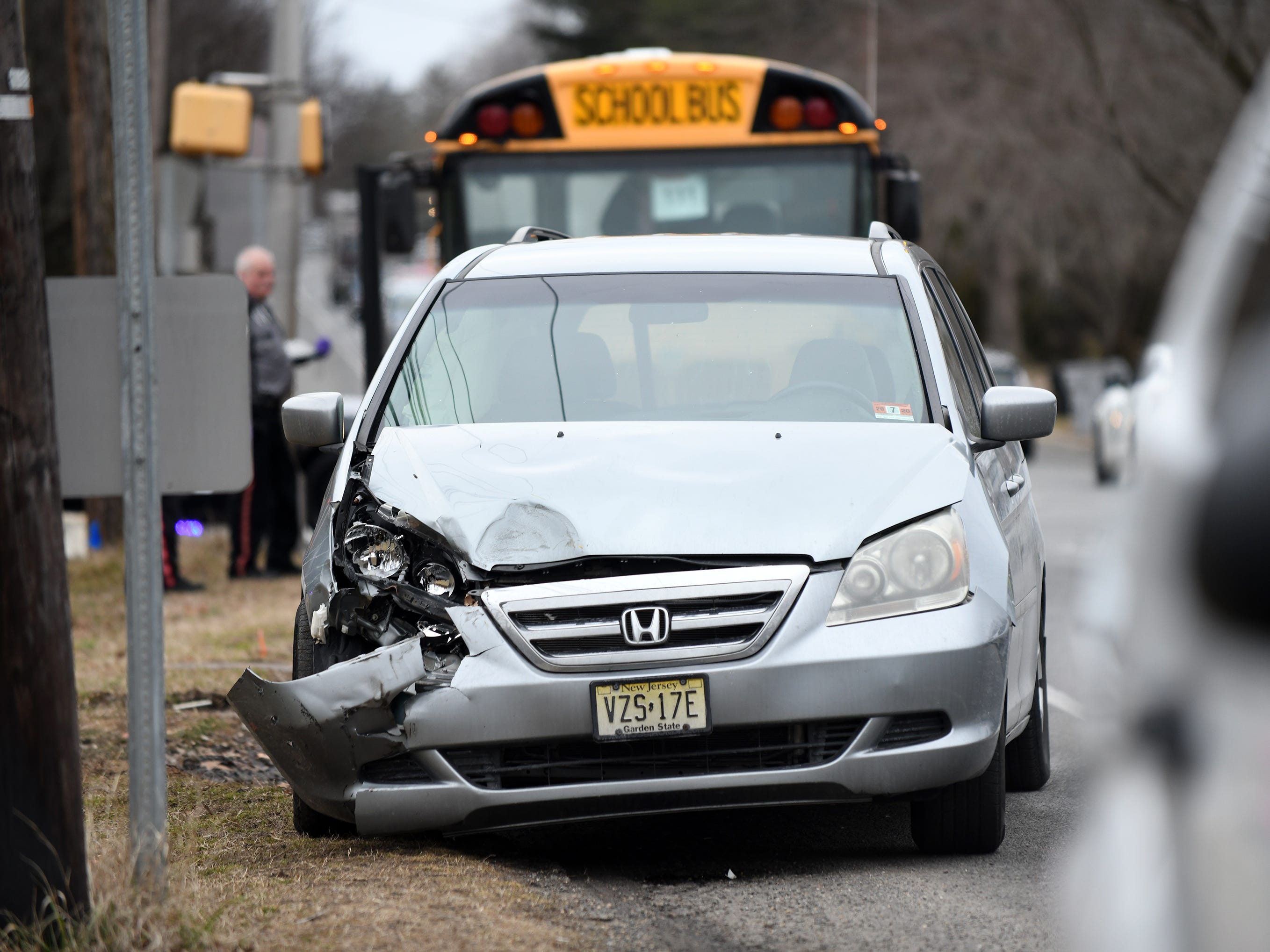 Police were on the scene following a school bus accident at the corner of Landis and Brewster in Vineland on Wednesday, Feb. 6, 2019.