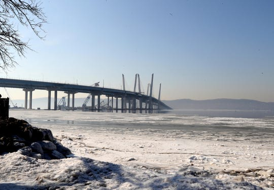 The Gov. Mario M. Cuomo Bridge, photographed Feb. 5, will, by year's end, have a bike/walk path linking Rockland and Westchester, with the potential to clog Tarrytown and Sleepy Hollow streets with Lycra-clad cyclists.