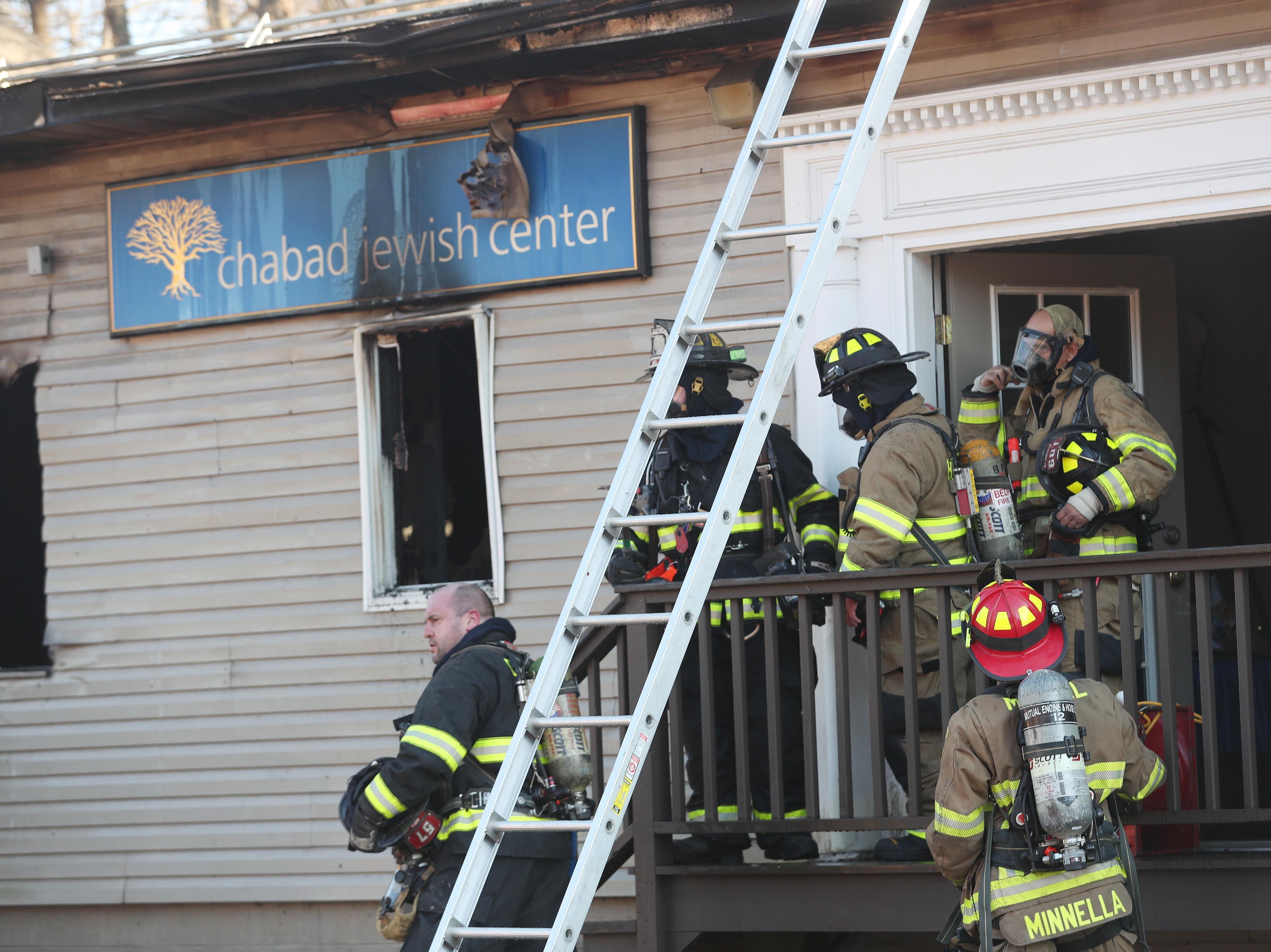 Bedfords Hills firefighters along with mutual aid from other departments, work at the scene of a fire at the Chabad Jewish Center on Railroad Avenue in Bedford Hills  Feb. 5,  2019.