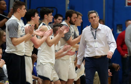 Mike McDonnell, the new boys basketball coach at Kennedy Catholic, is pictured during a game last season. Putnam Valley defeated Albertus Magnus 46-45 during basketball action at Putnam Valley High School Feb. 5, 2019.
