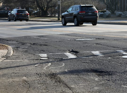 Potholes can been seen on northbound Route 9 overpass in Tarrytown on Feb. 5, 2019.