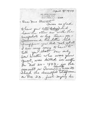 Part 1/3 of the letter from Walter Critchley's mother to Dr. Don Stewart.