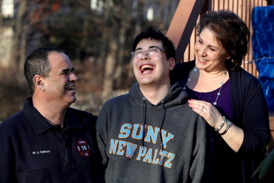 James Cancro of Cortlandt Manor and his son, Jimmy, 20, photographed Feb. 5, 2019 with wife and mother Lisa, both have a genetic kidney disease that causes their kidneys to fail. James, who had to retire early from his job as a Fairview firefighter due to his illness, is on dialysis and waiting for a suitable kidney donor in order to get a transplanted organ. Jimmy, whose health is deteriorating due to the illness, had to withdraw from his sophomore year at SUNY New Paltz. He will also need a kidney transplant.
