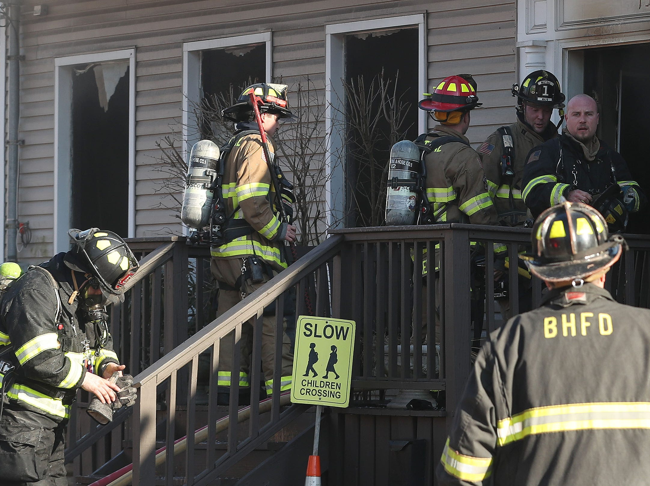 Bedfords Hills firefighters with mutual aid from neighboring departments, work at the scene of a fire at the Chabad Jewish Center on Railroad Avenue in Bedford Hills  Feb. 5,  2019.