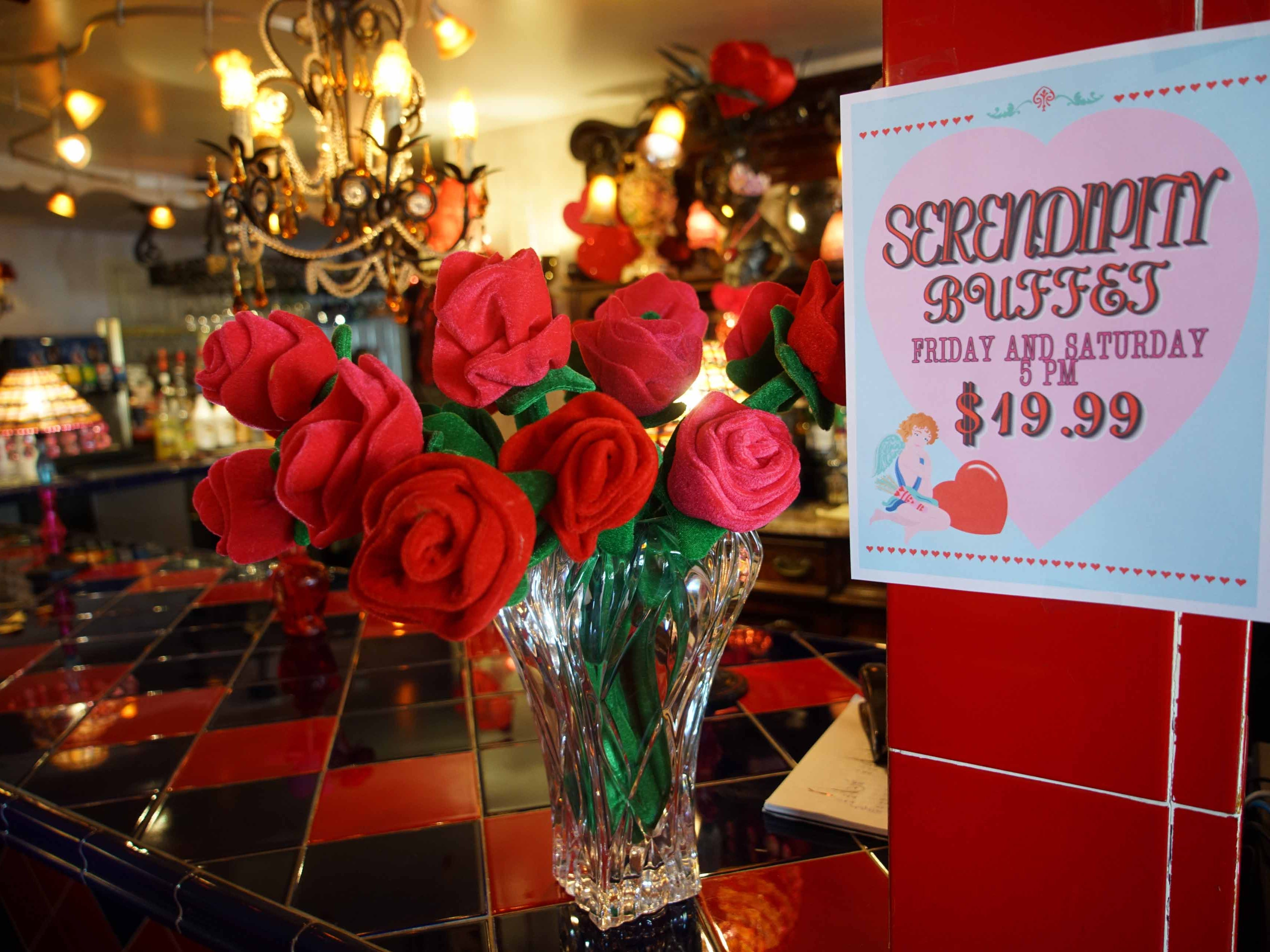 The bar area of Serendipity Restaurant decorated for Valentine's Day.