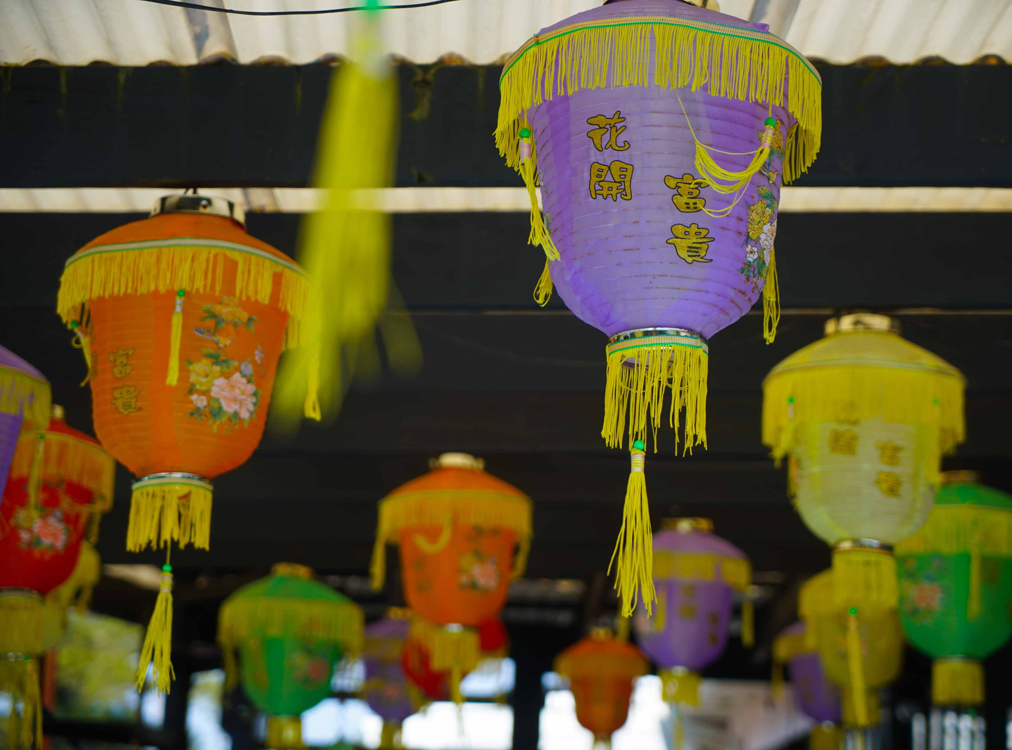 Lanterns hang year round outside on the patio at Serendipity Restaurant that overlooks Indian River.