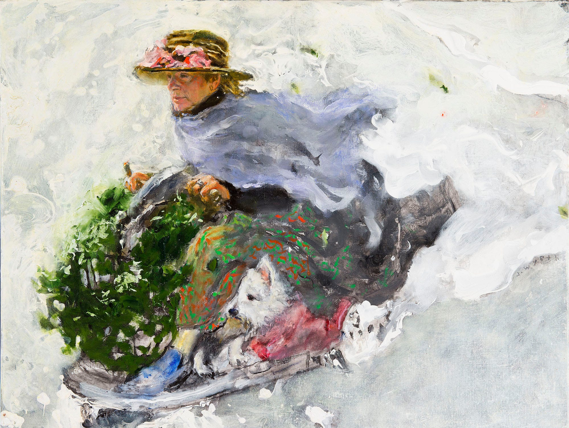 "Phyllis Wyeth features in Jamie Wyeth's  ""Stealing Holly from the Irénées,"" painted in 2016."