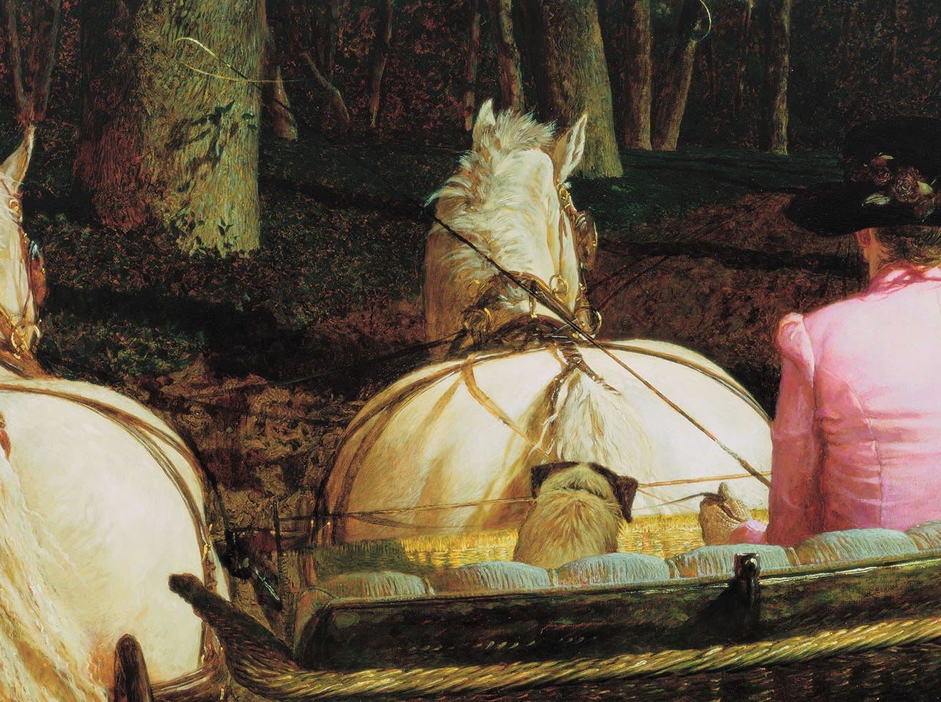 "Phyllis Wyeth drives a team of horses in Jamie Wyeth's 1987 painting ""Connemara."""