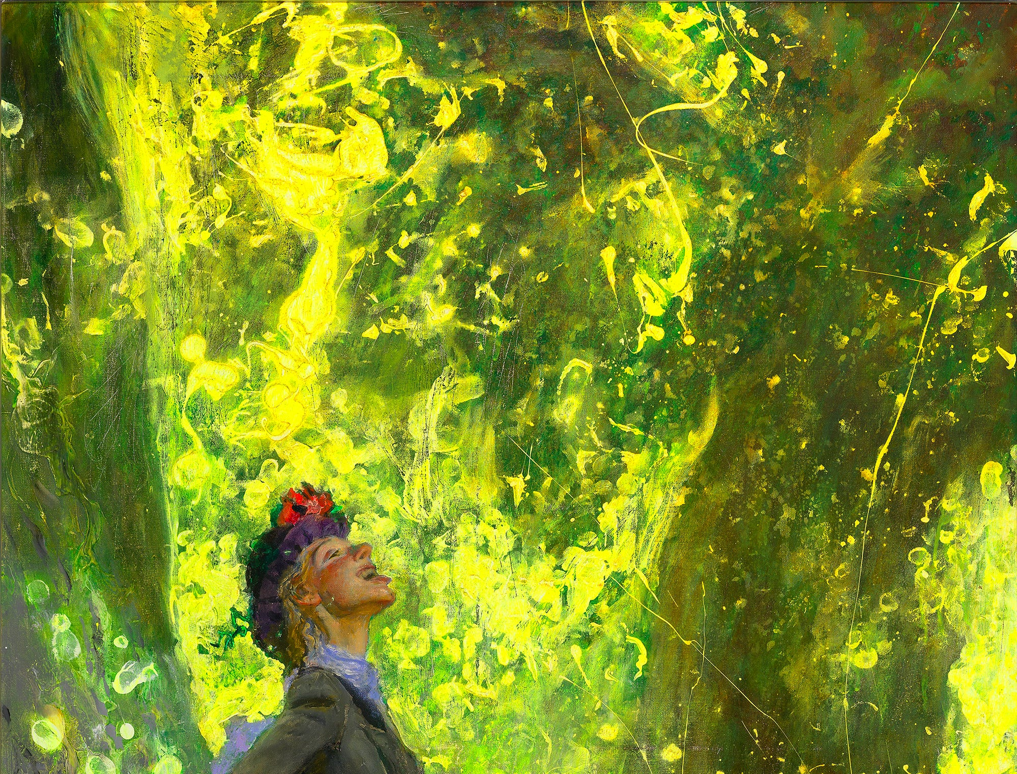 "Jamie Wyeth painted his late wife, Phyllis, in his 2012 ""Catching Pollen."""