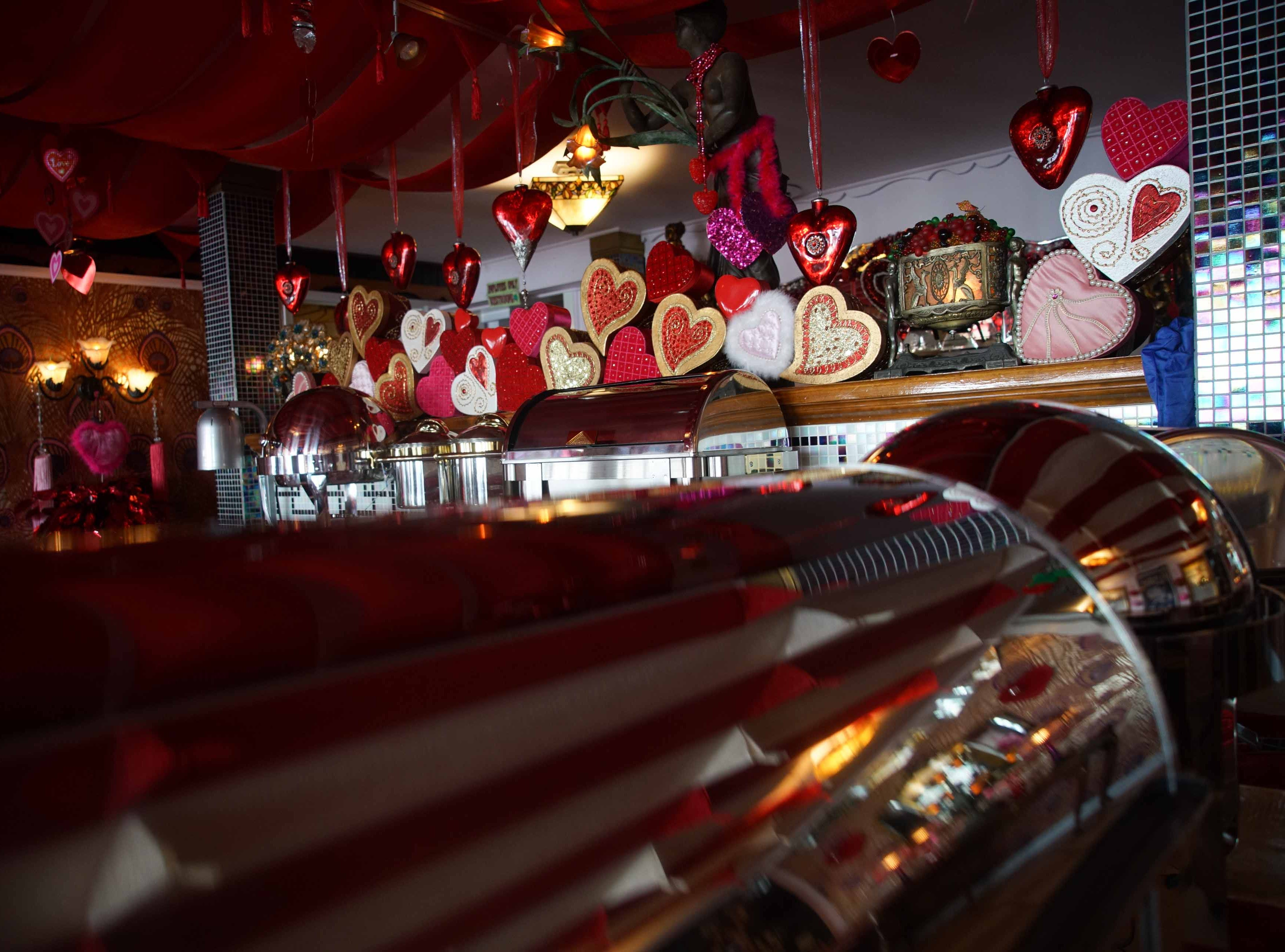 Hearts surround the buffet area of Serendipity Restaurant.