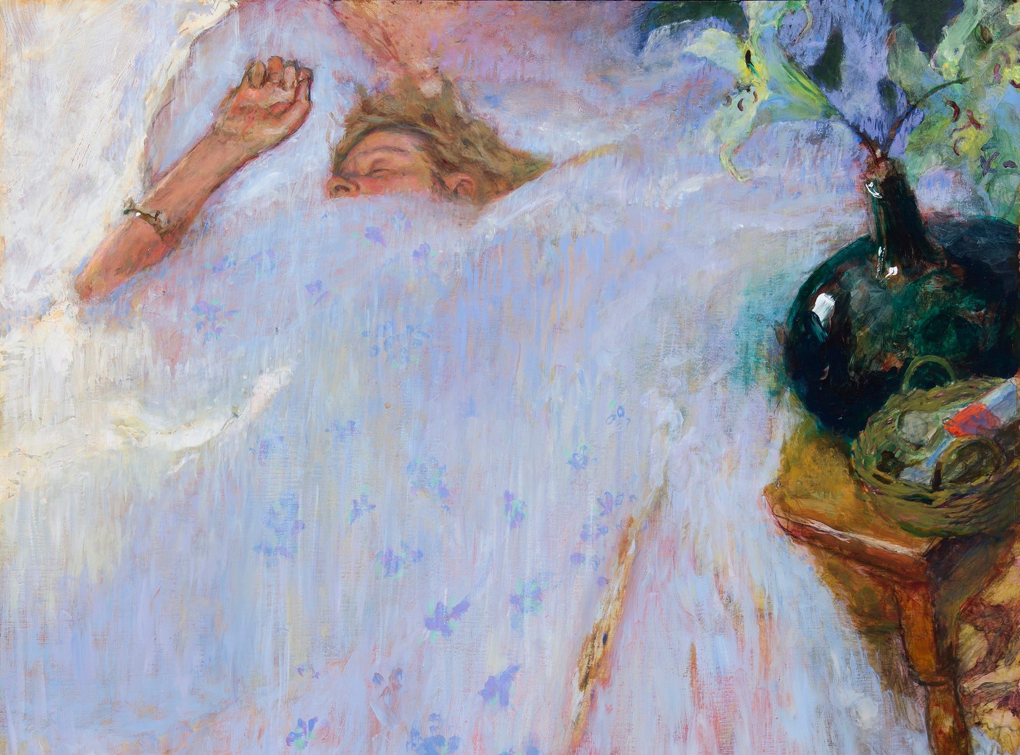 """Jamie Wyeth's 2018 painting, """"Overslept,"""" featurees his late wife Phyllis."""